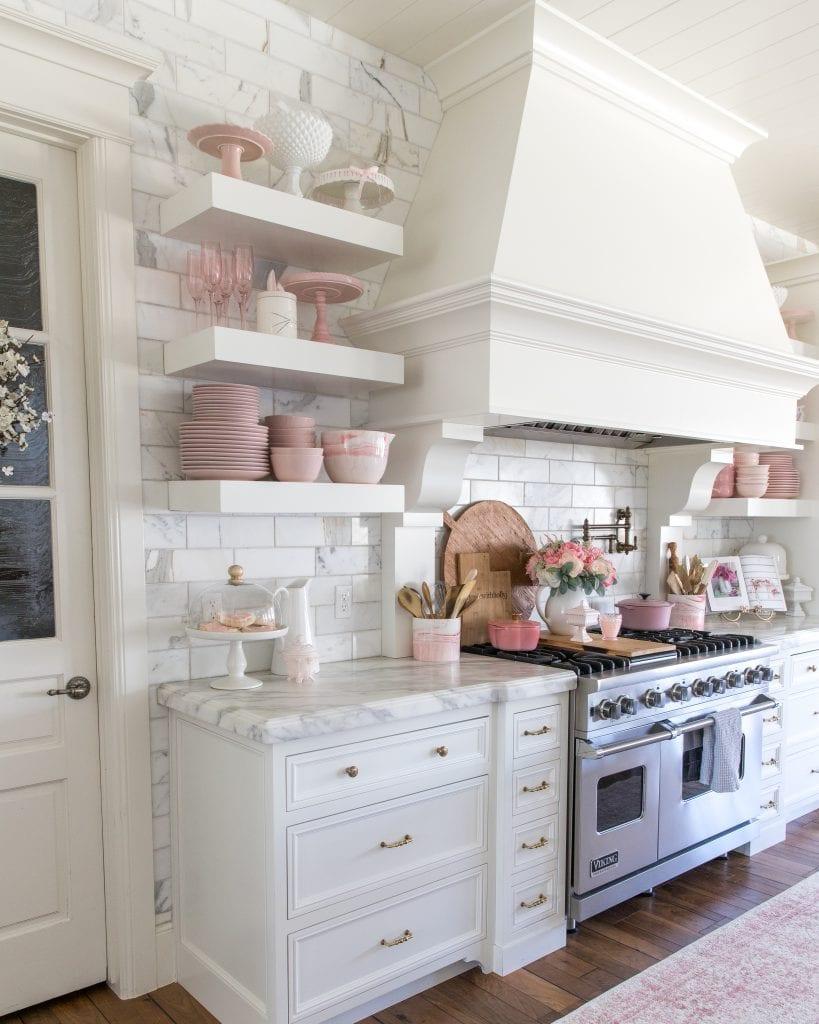 shelf stying kitchen spring decor