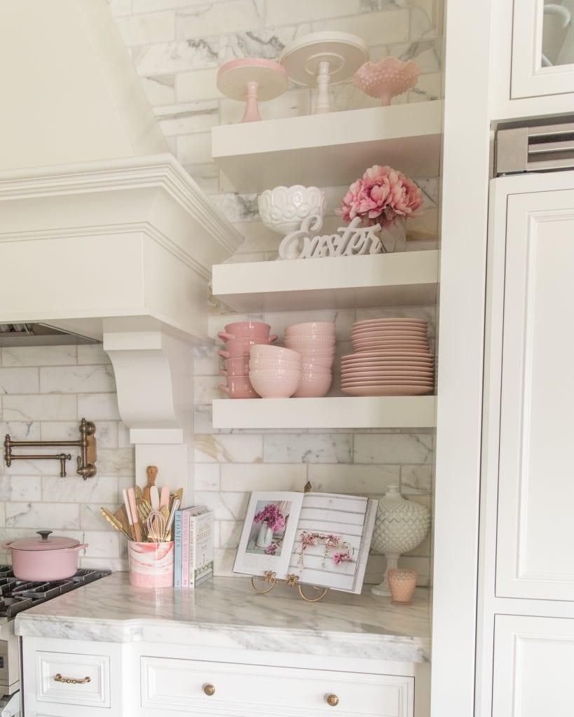 pink dishes spring decor kitchen shelves