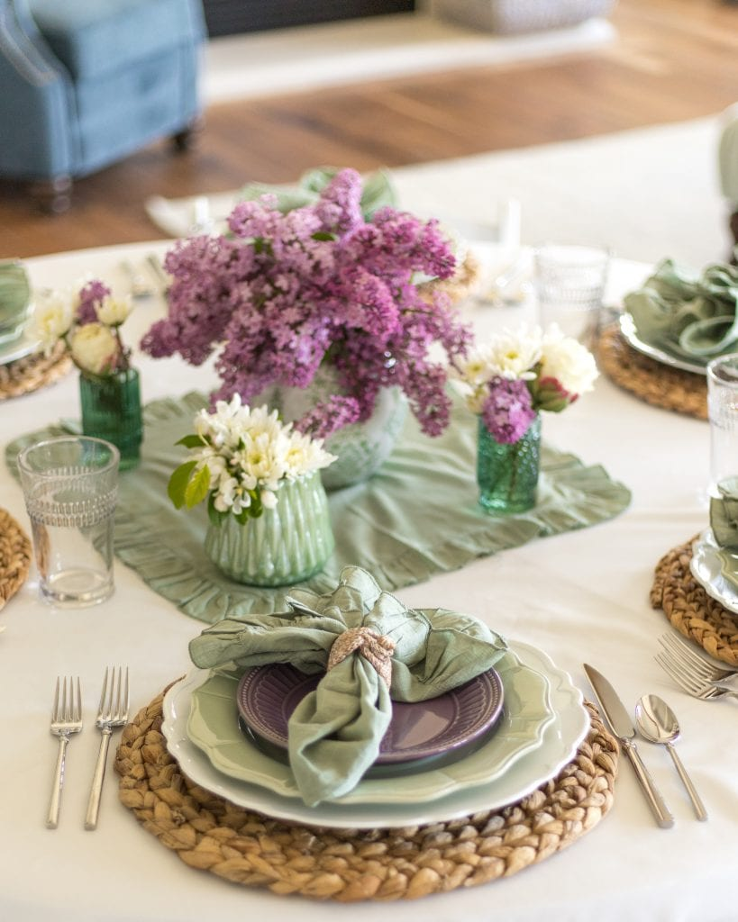 mint green lavender tablescape