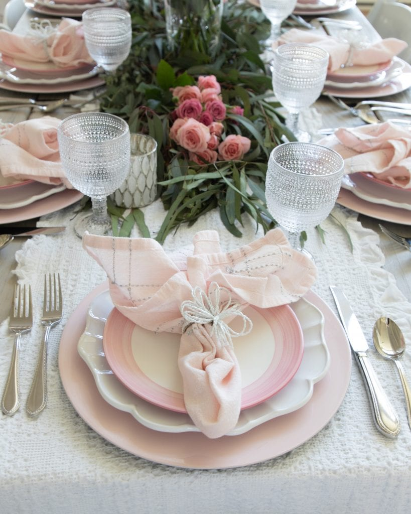 pink place-setting tablescape