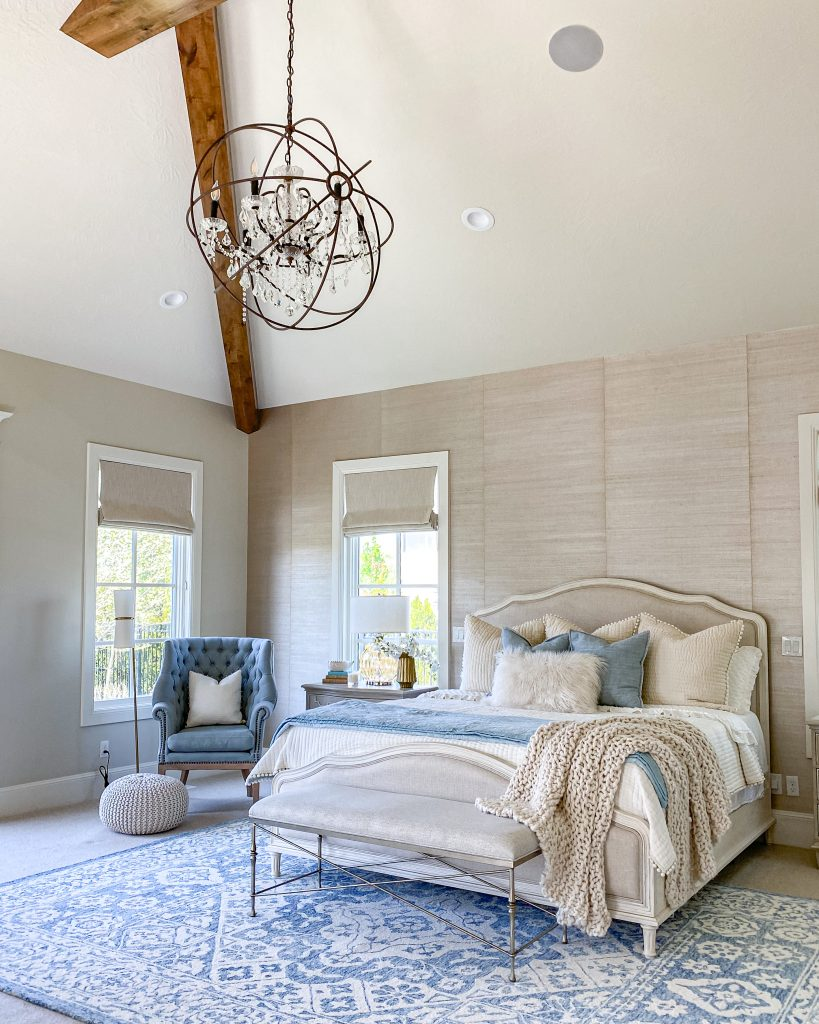 French country transitional master bedroom decor