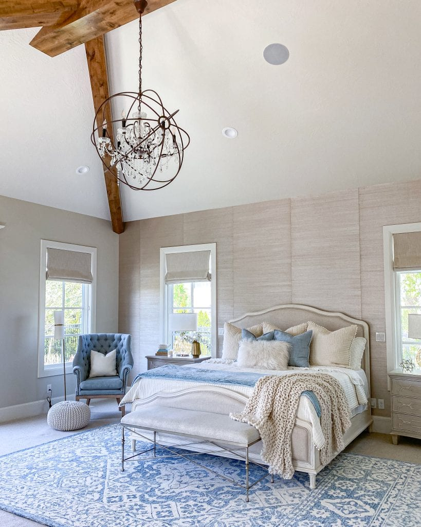 transitional French country master bedroom