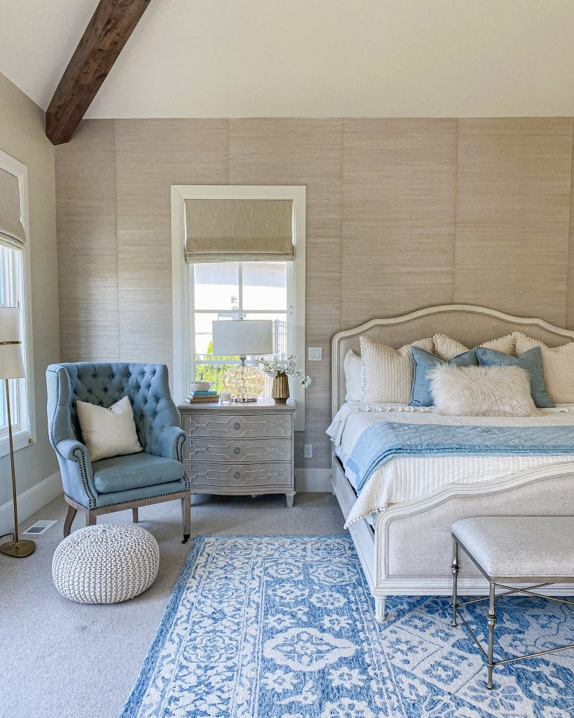 master bedroom French country blue rug