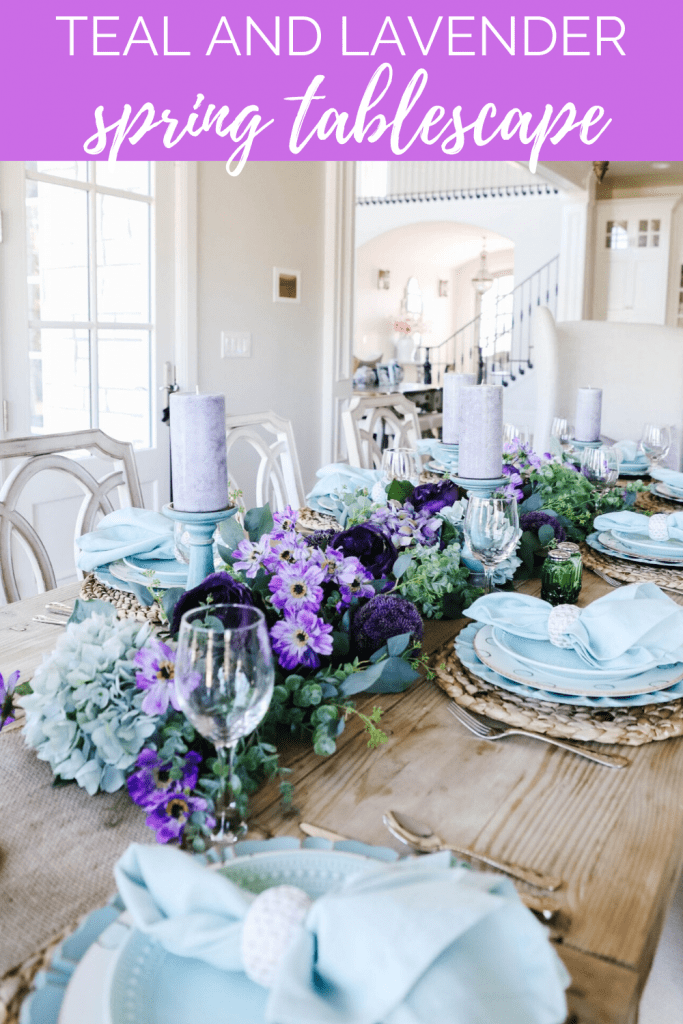 spring and teal and purple tablescape