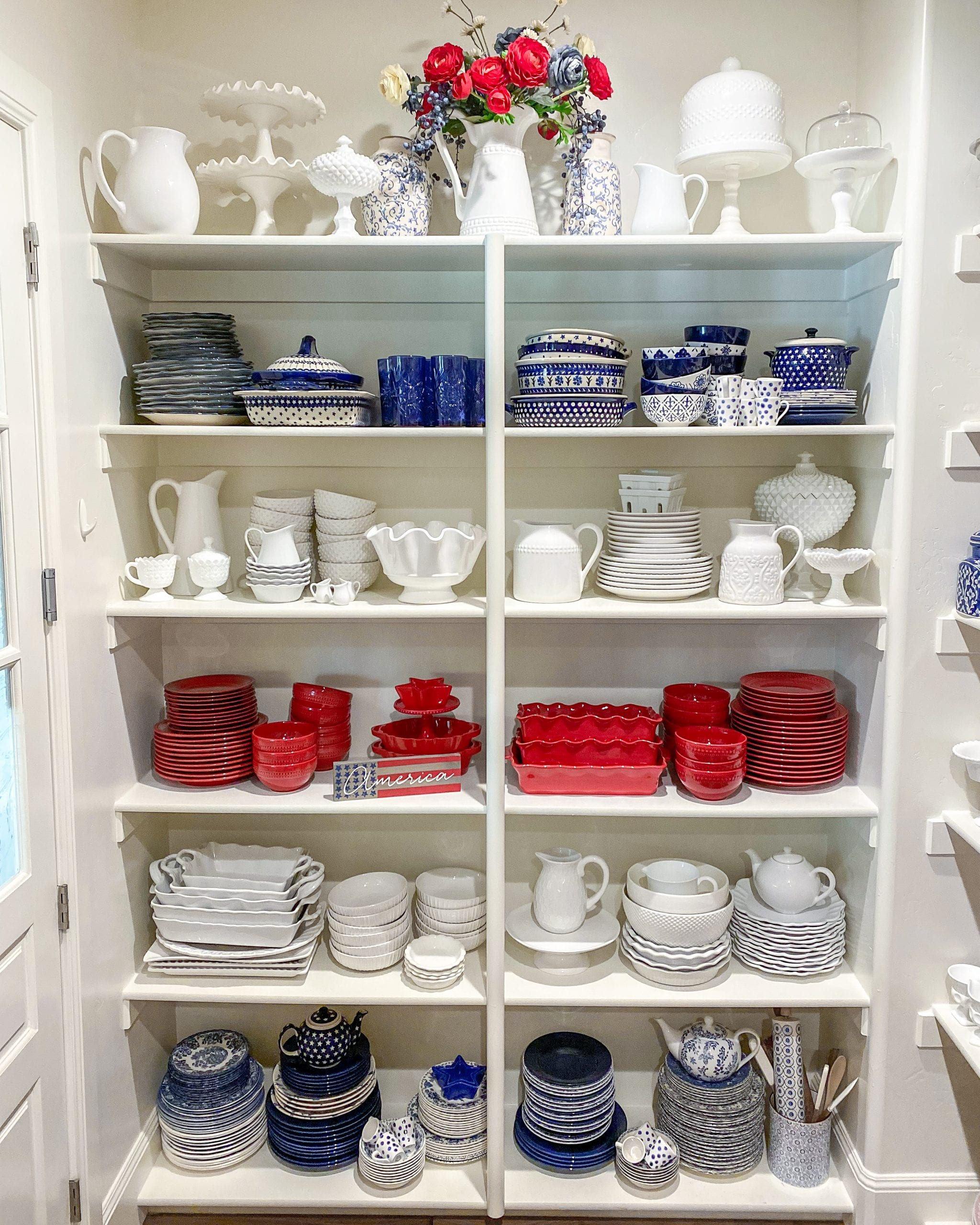 patriotic dish pantry organization
