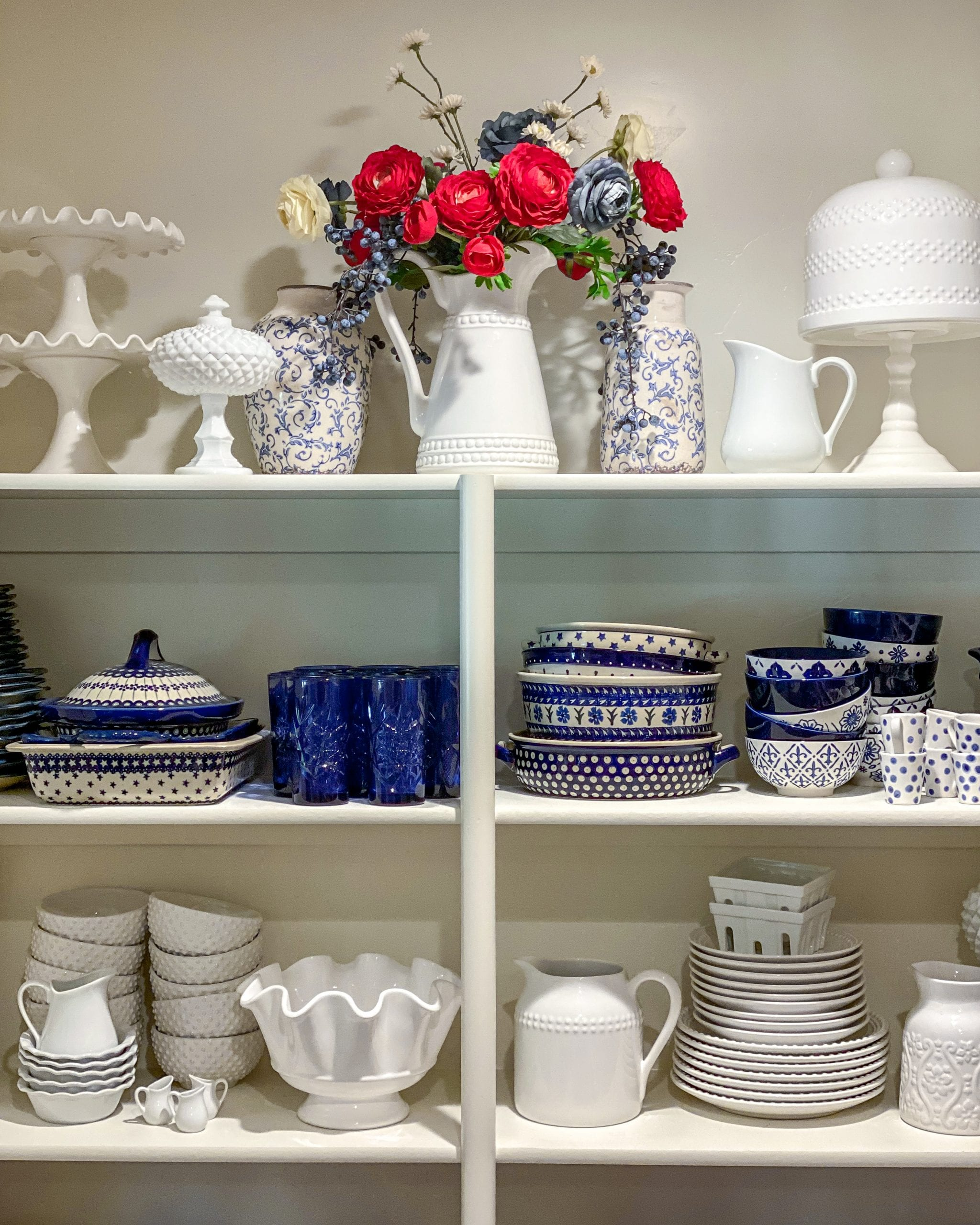 red white blue dishes