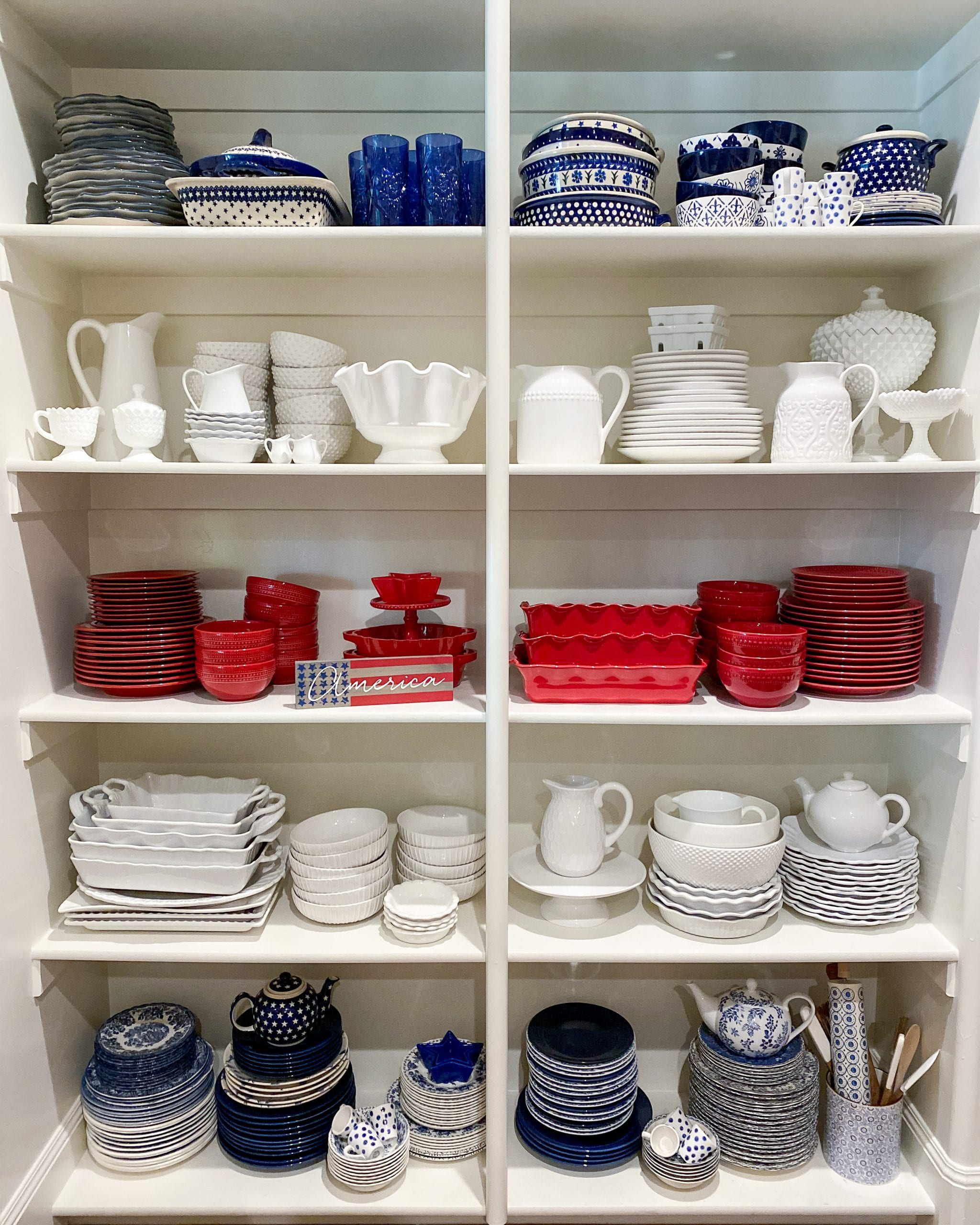red white and blue pantry organization