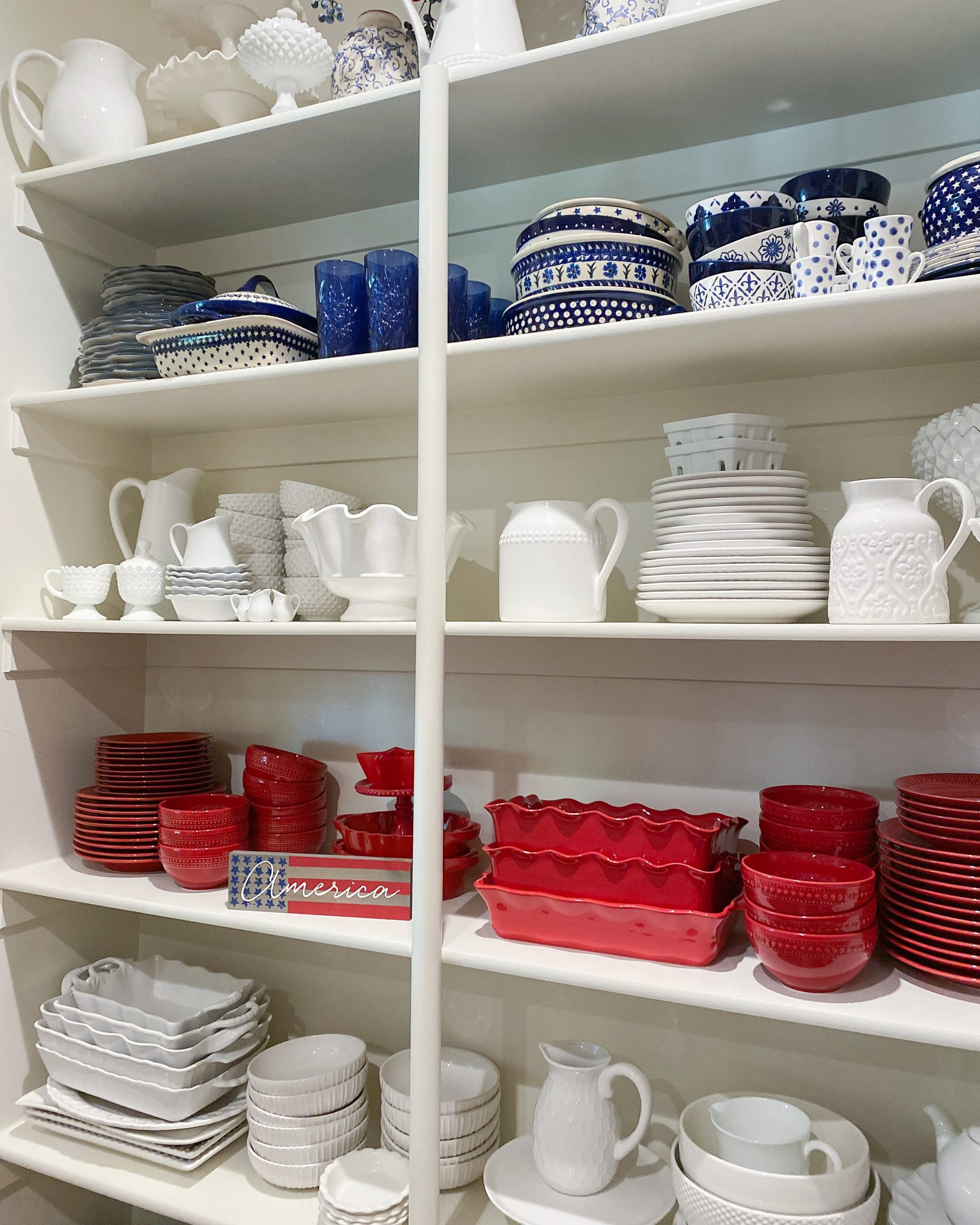 red white and blue dish organization