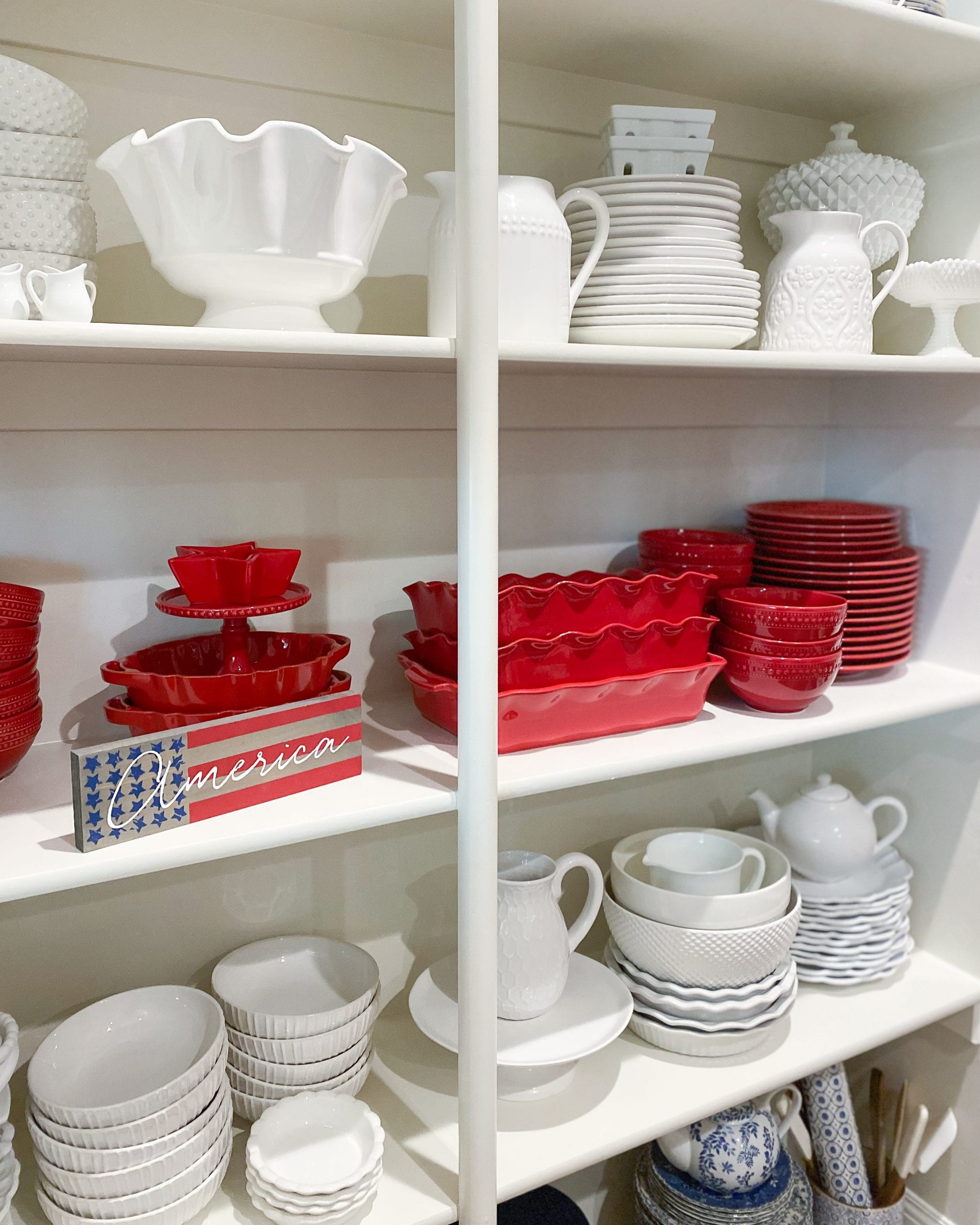 red and white dishes organization