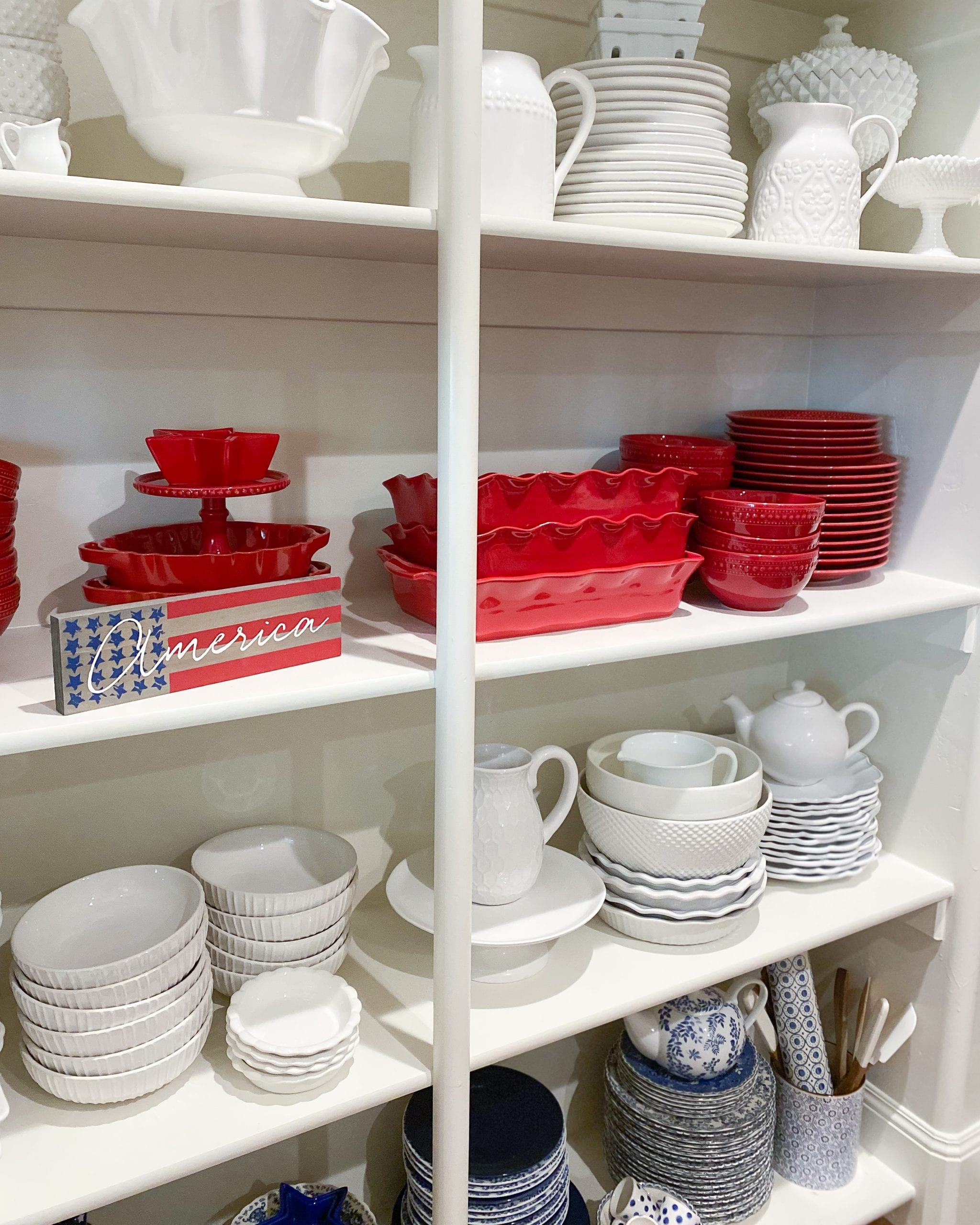 red and white dinnerware