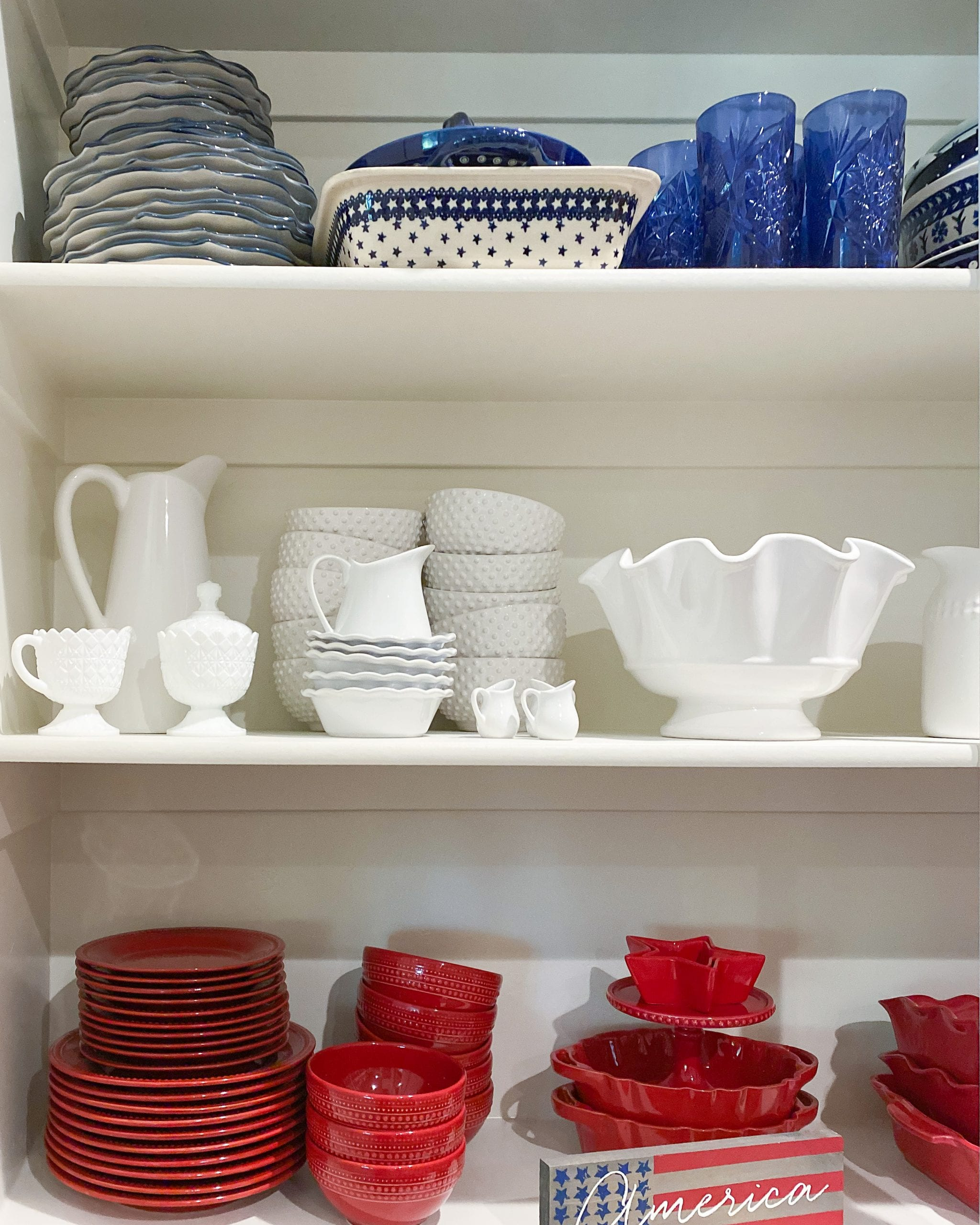red white and blue dishes