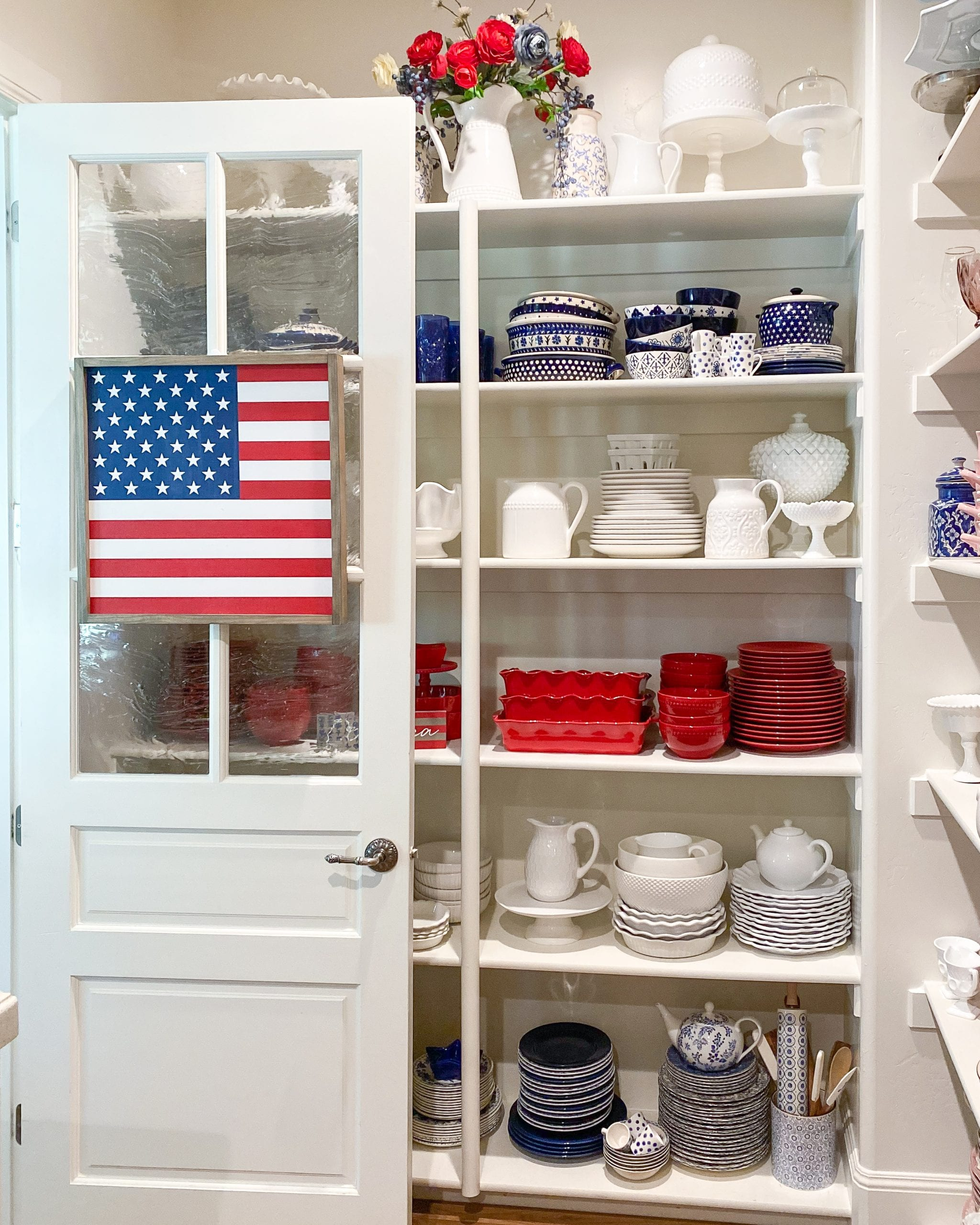 flag sign pantry door