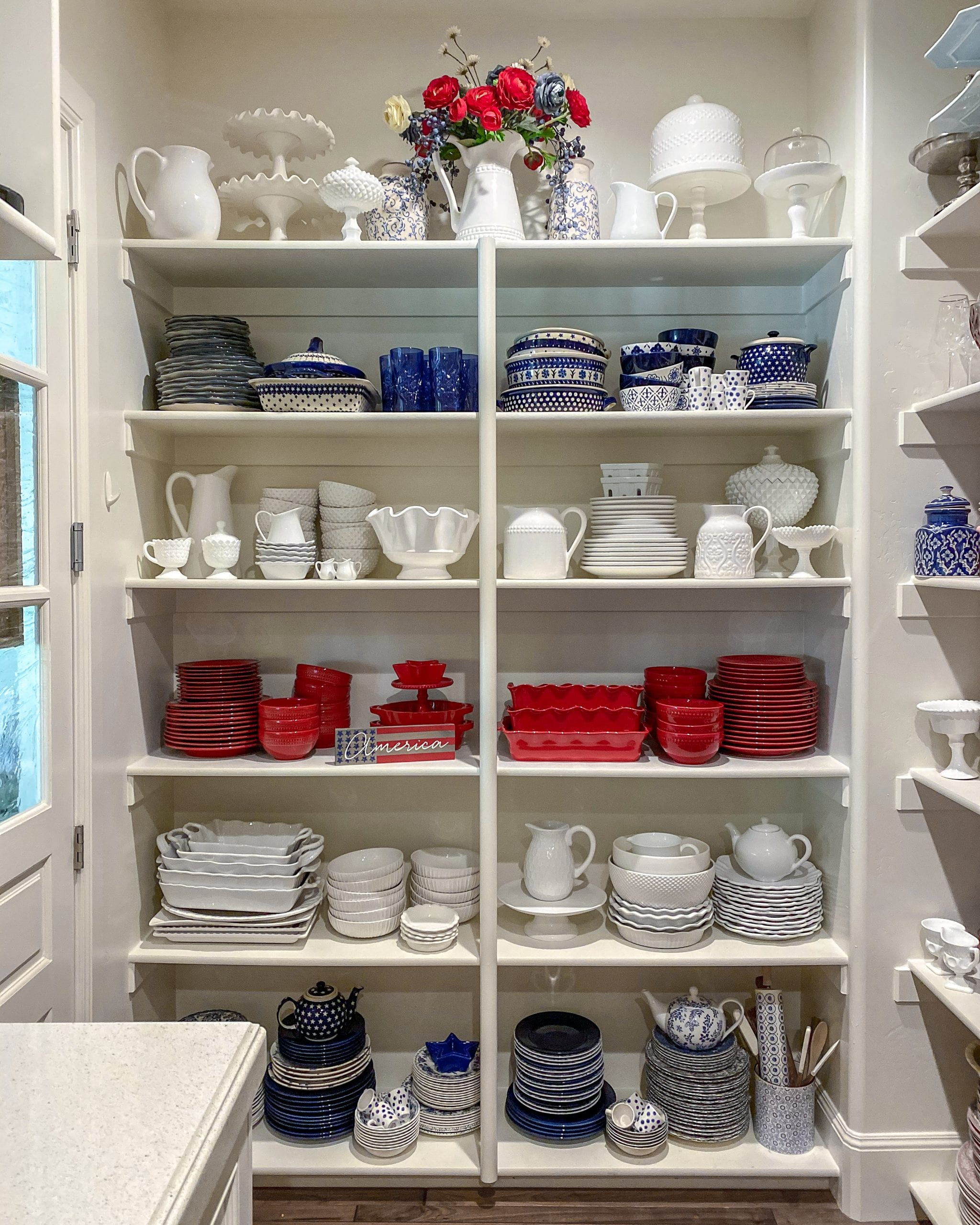 red white and blue dish collection
