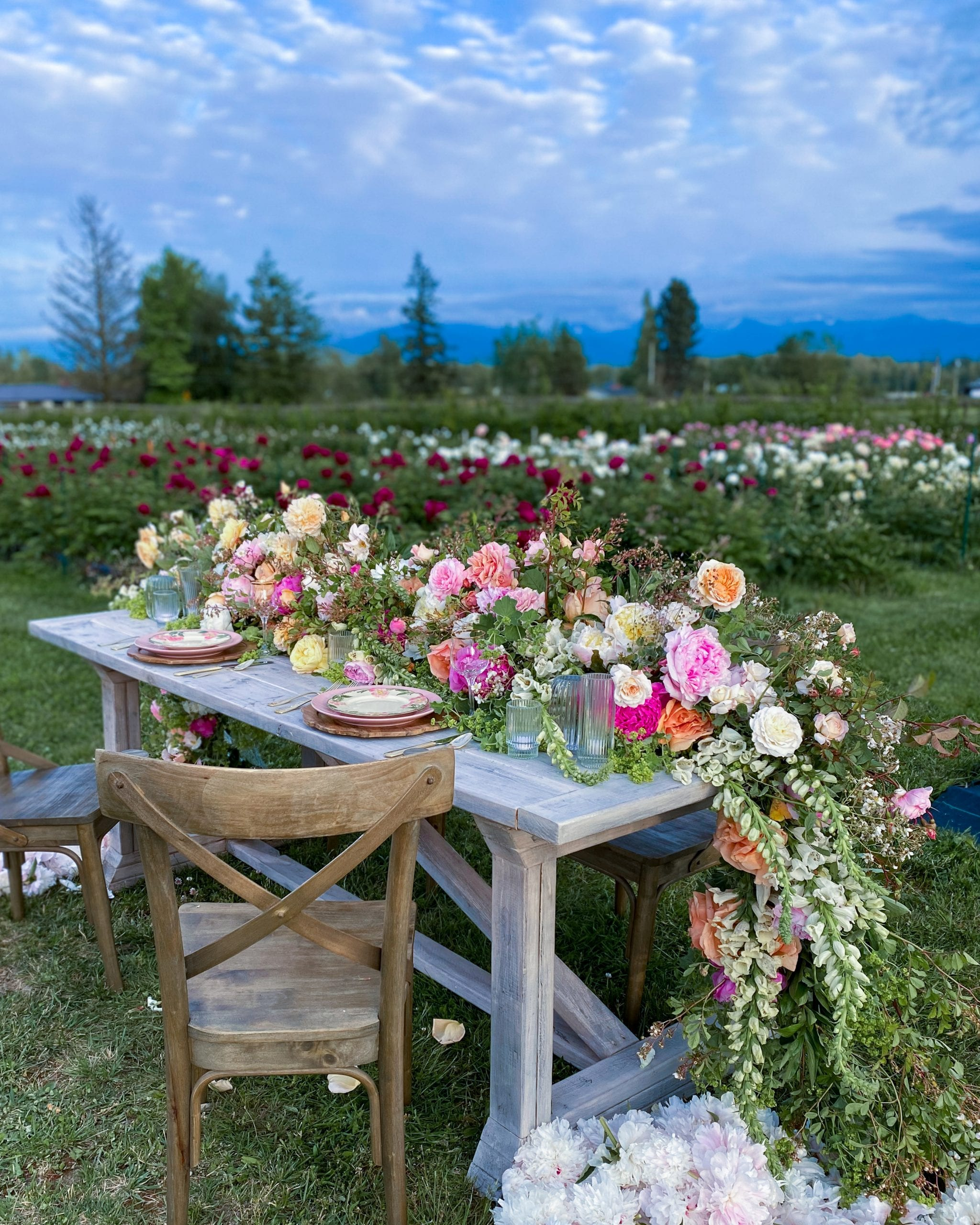 flower garland tablescape flower farm