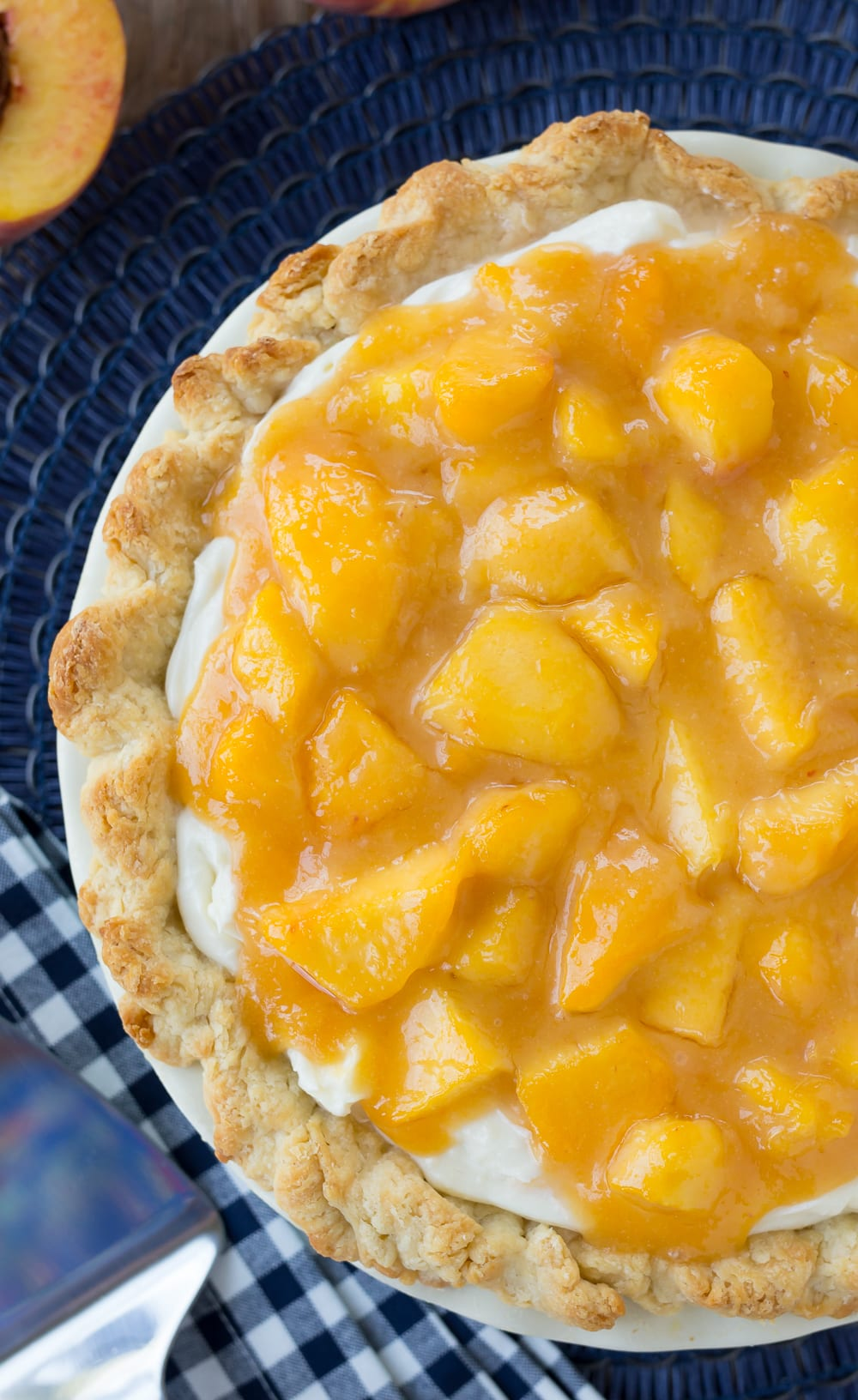 fresh peach pie with cream cheese filling