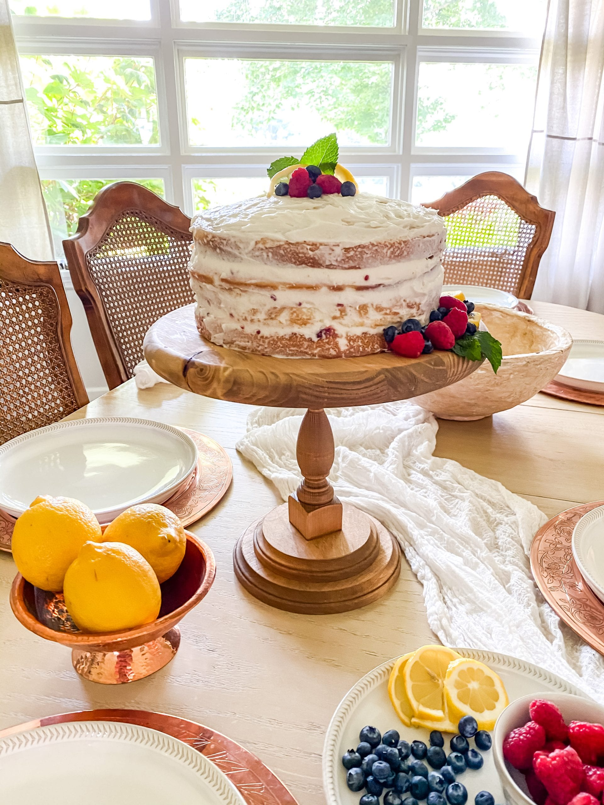 Raspberry Infused Lemon Naked Cake