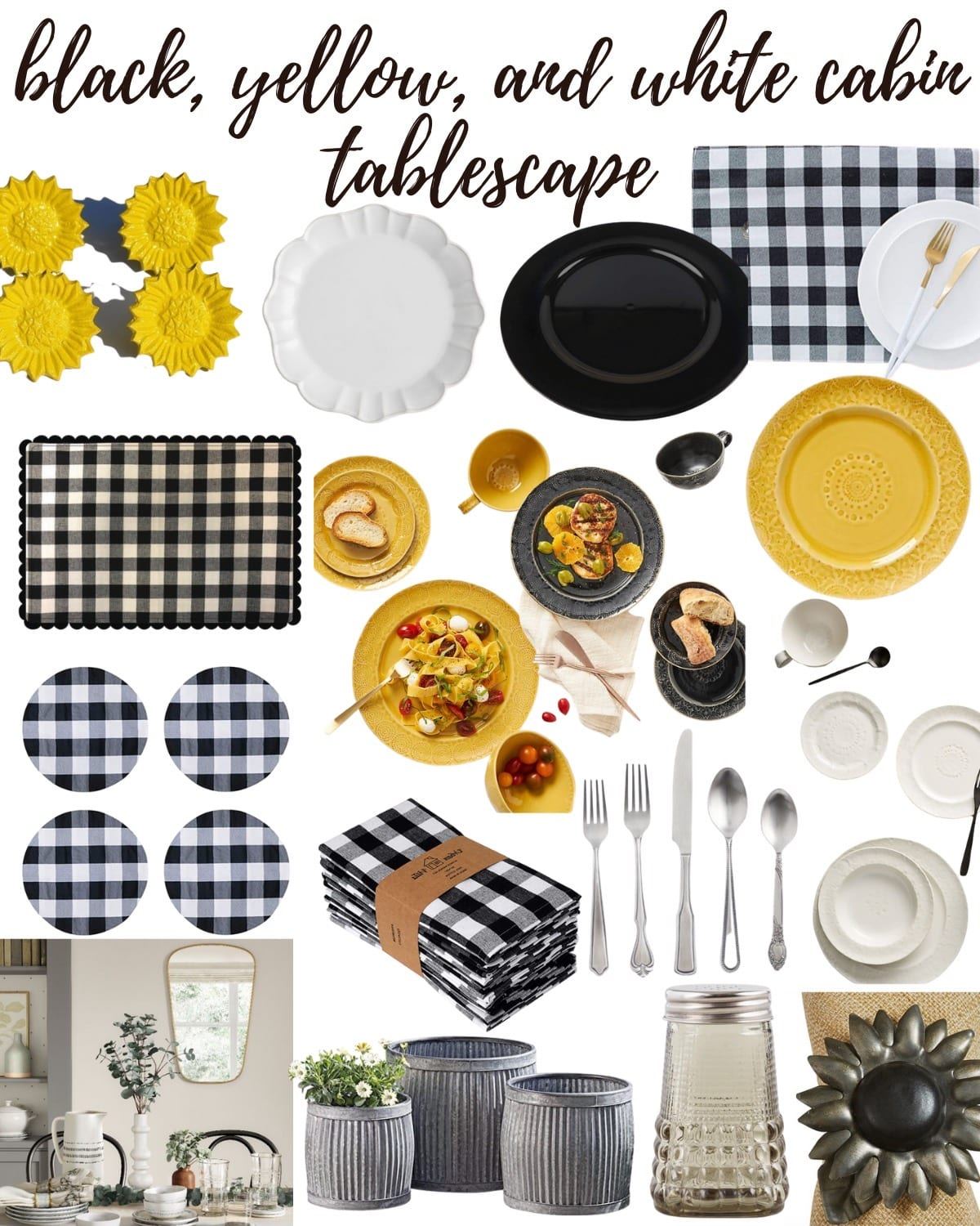sources for black white yellow cabin tablescape