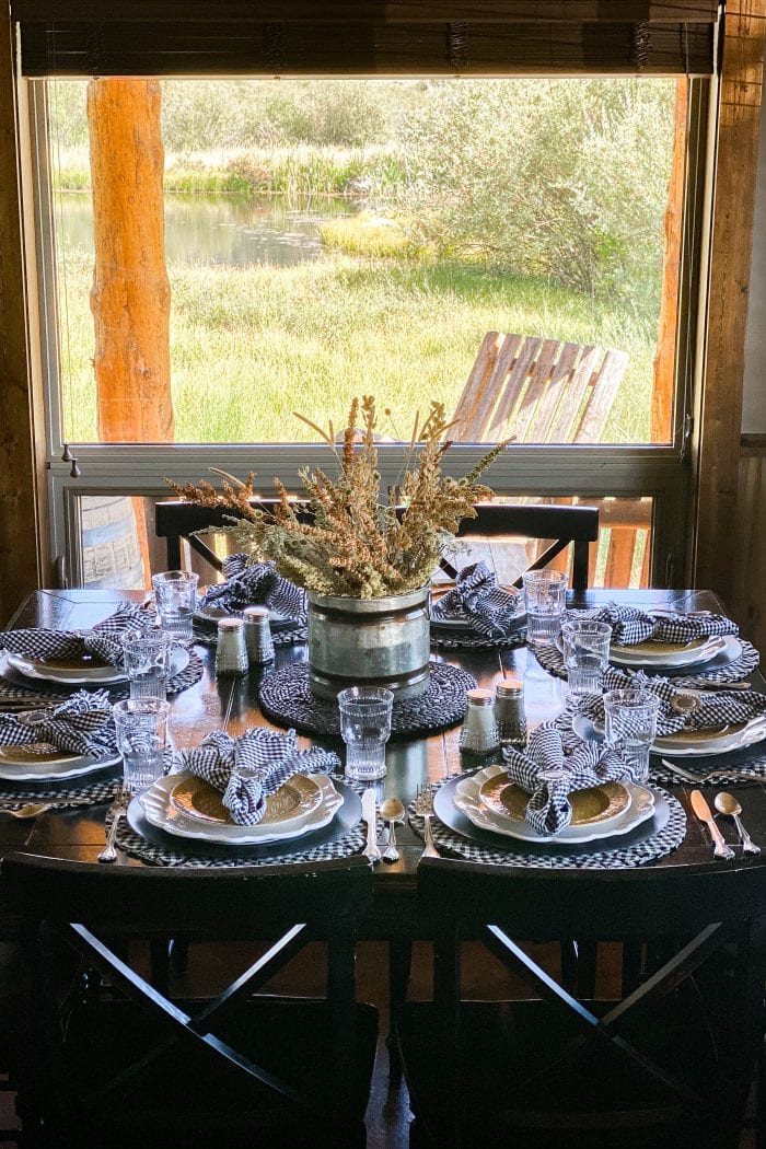 Black, Yellow, and White Cabin Tablescape