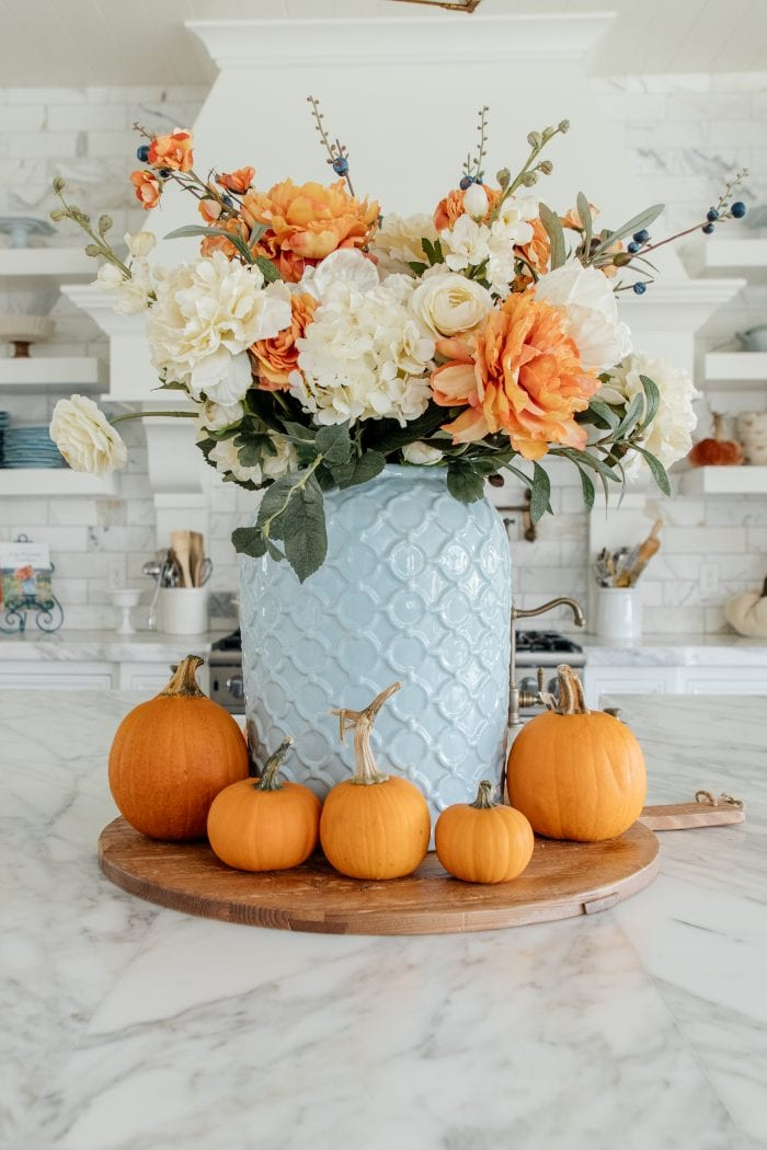 Blue and Orange DIY Fall Centerpiece