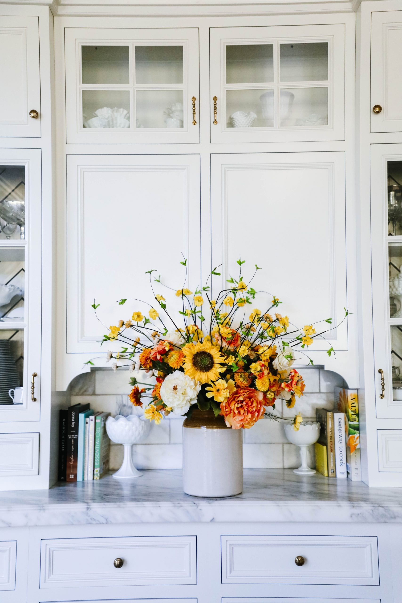 summer to fall sunflower floral centerpiece