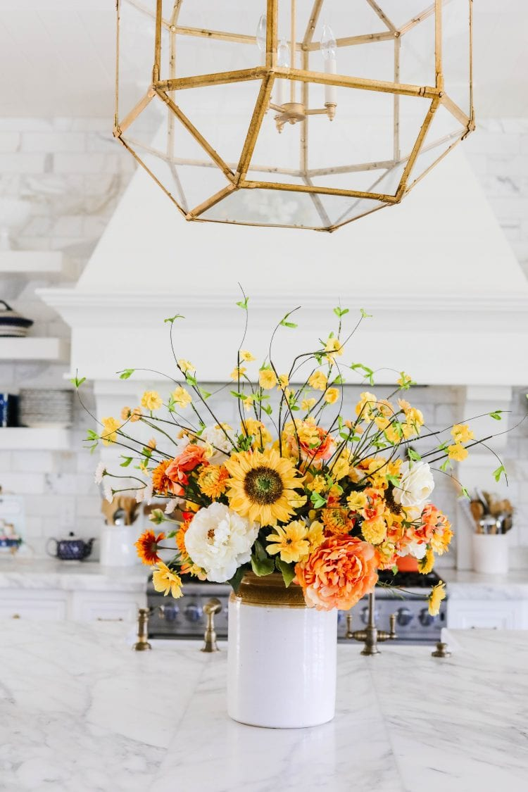 sunflower faux floral centerpiece