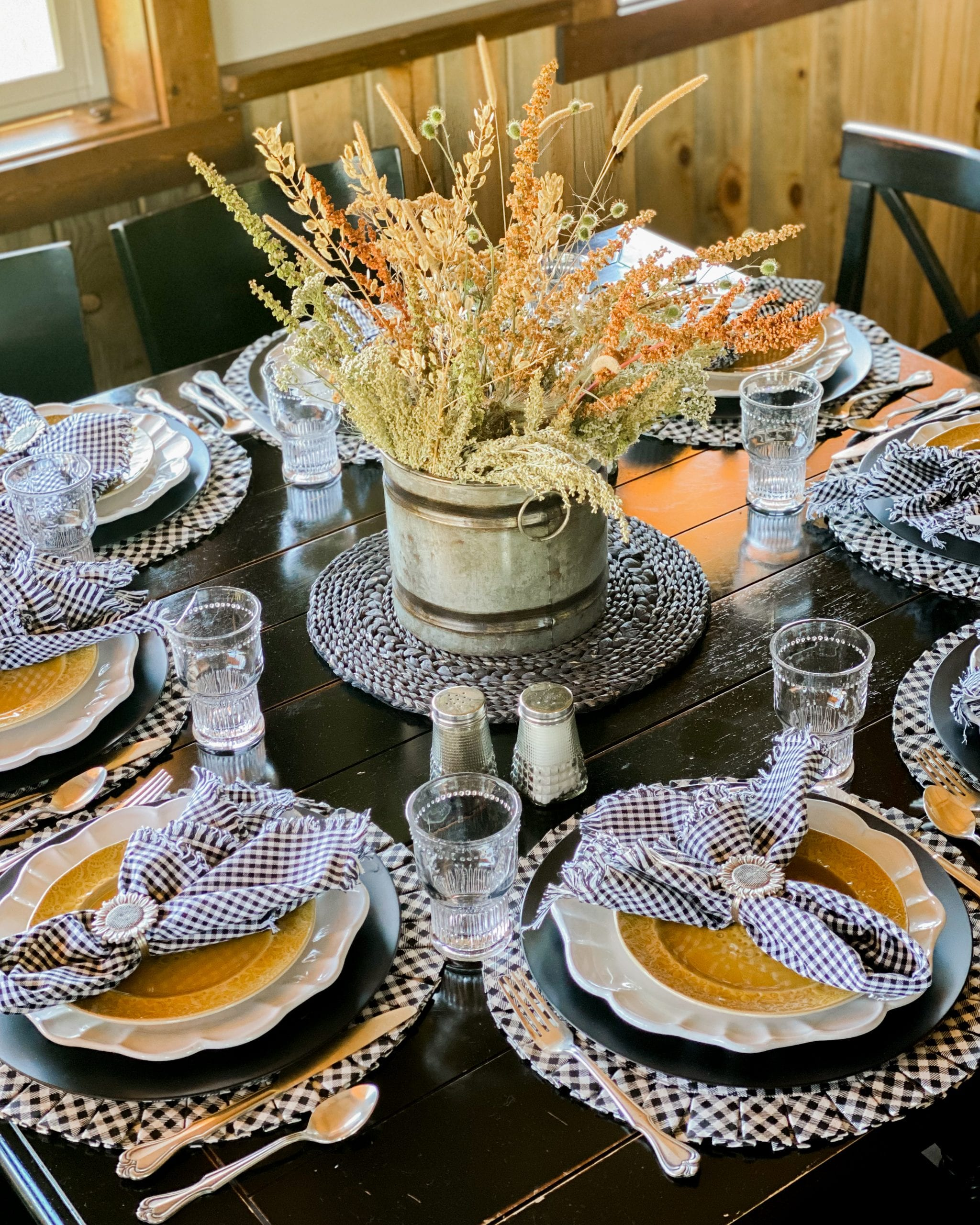 black white yellow fall cabin table setting
