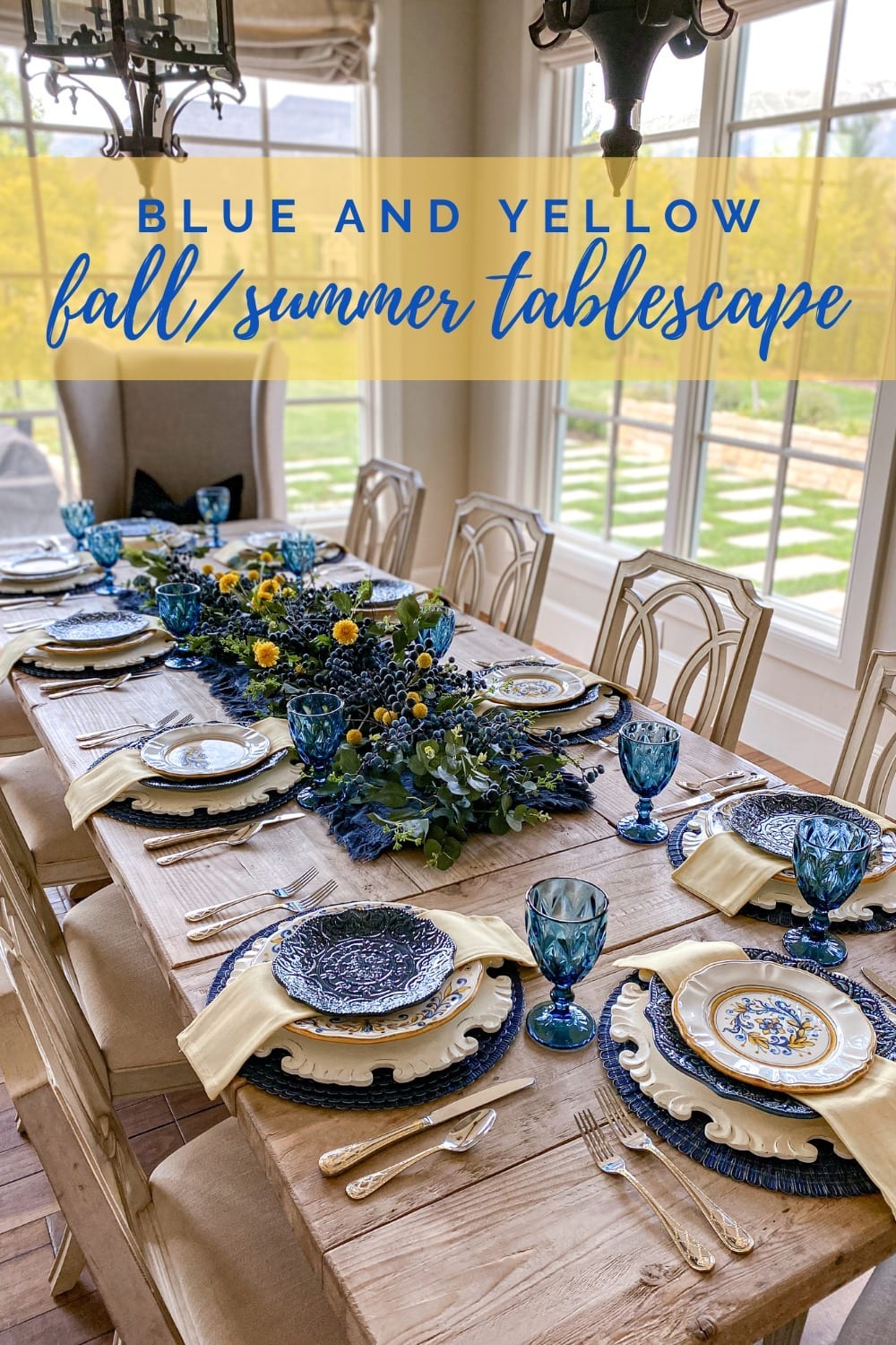 blue and yellow summer/fall tablescape