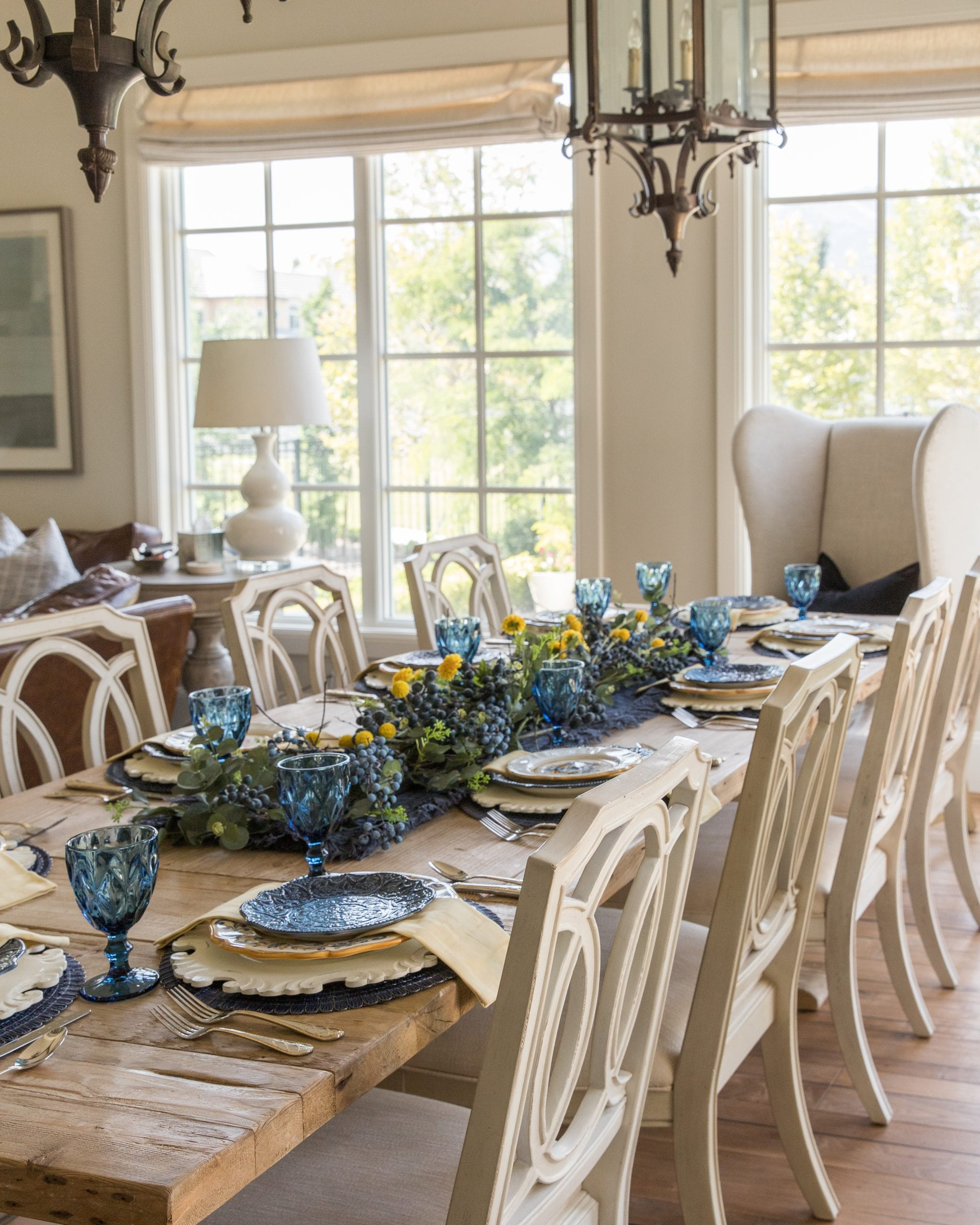 blue and yellow summer fall tablescape