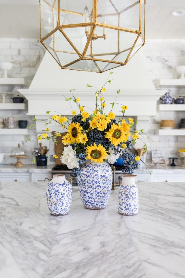 Blue and Yellow Summer/Fall DIY Floral Arrangement