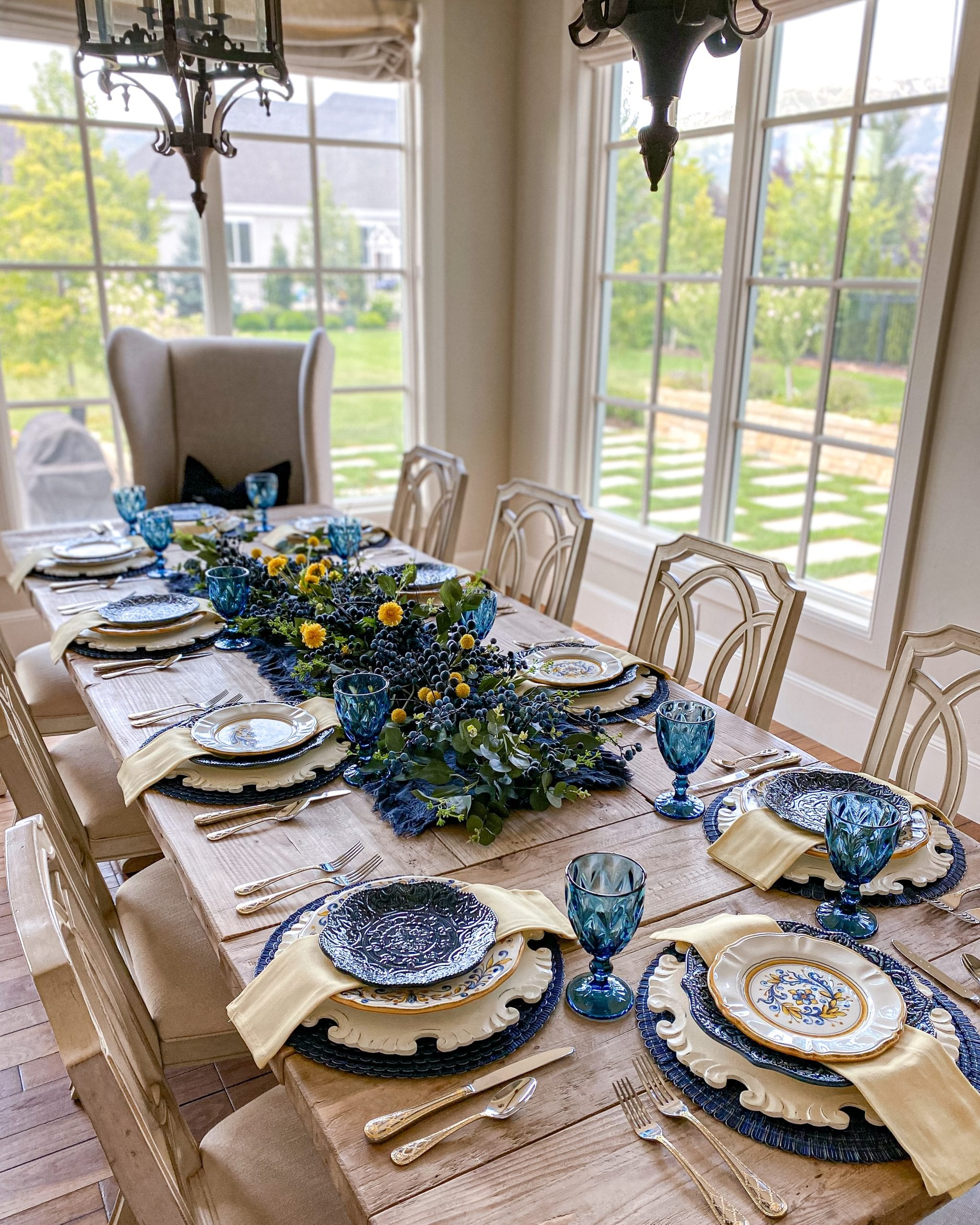 blue yellow summer fall tablescape