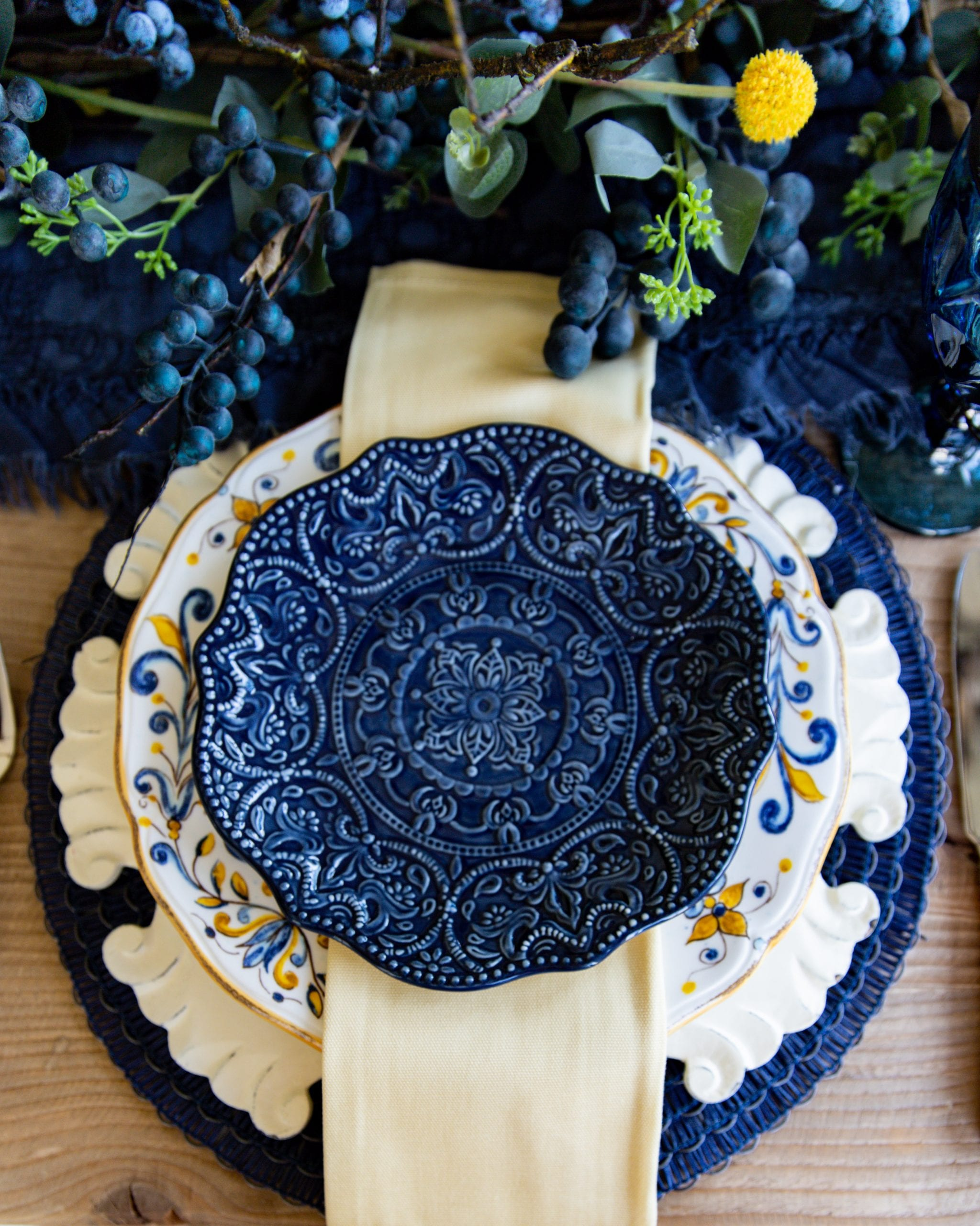 Decor Transition Into Fall Blue And Yellow Tablescape