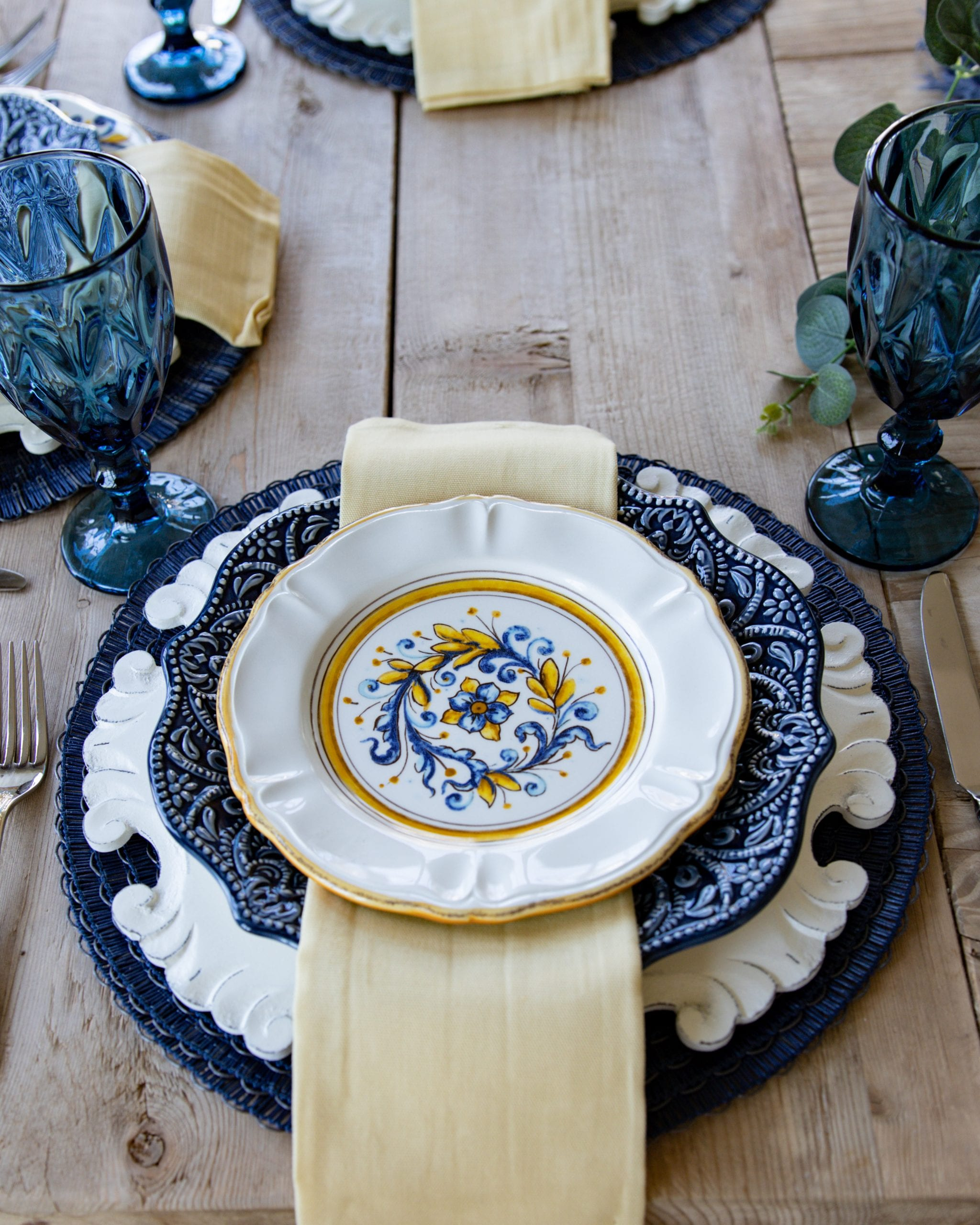 blue and yellow place-setting