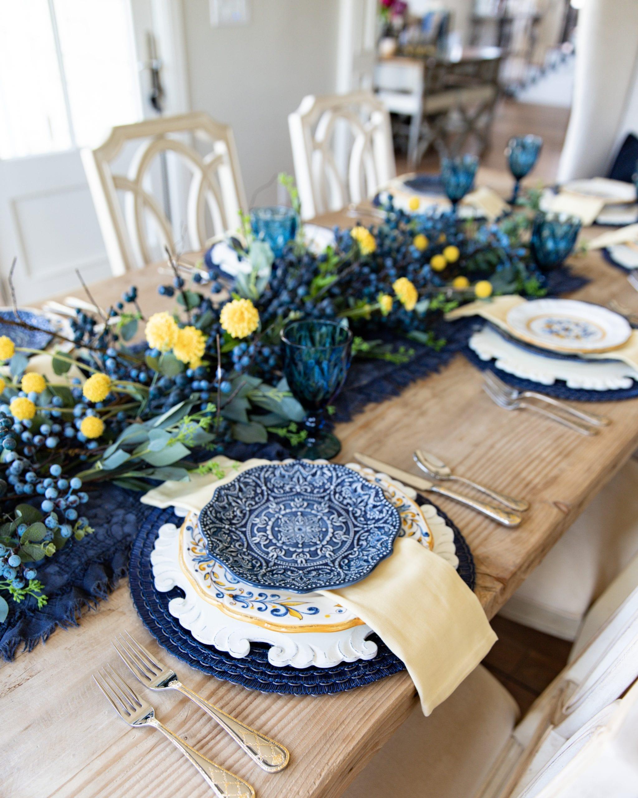 blue and yellow dinnerware