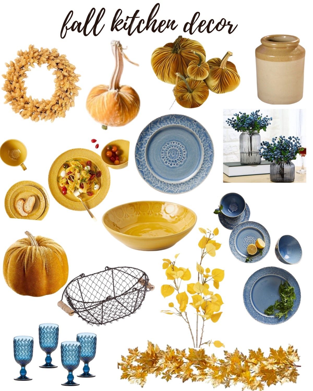 Light blue yellow kitchen fall decor