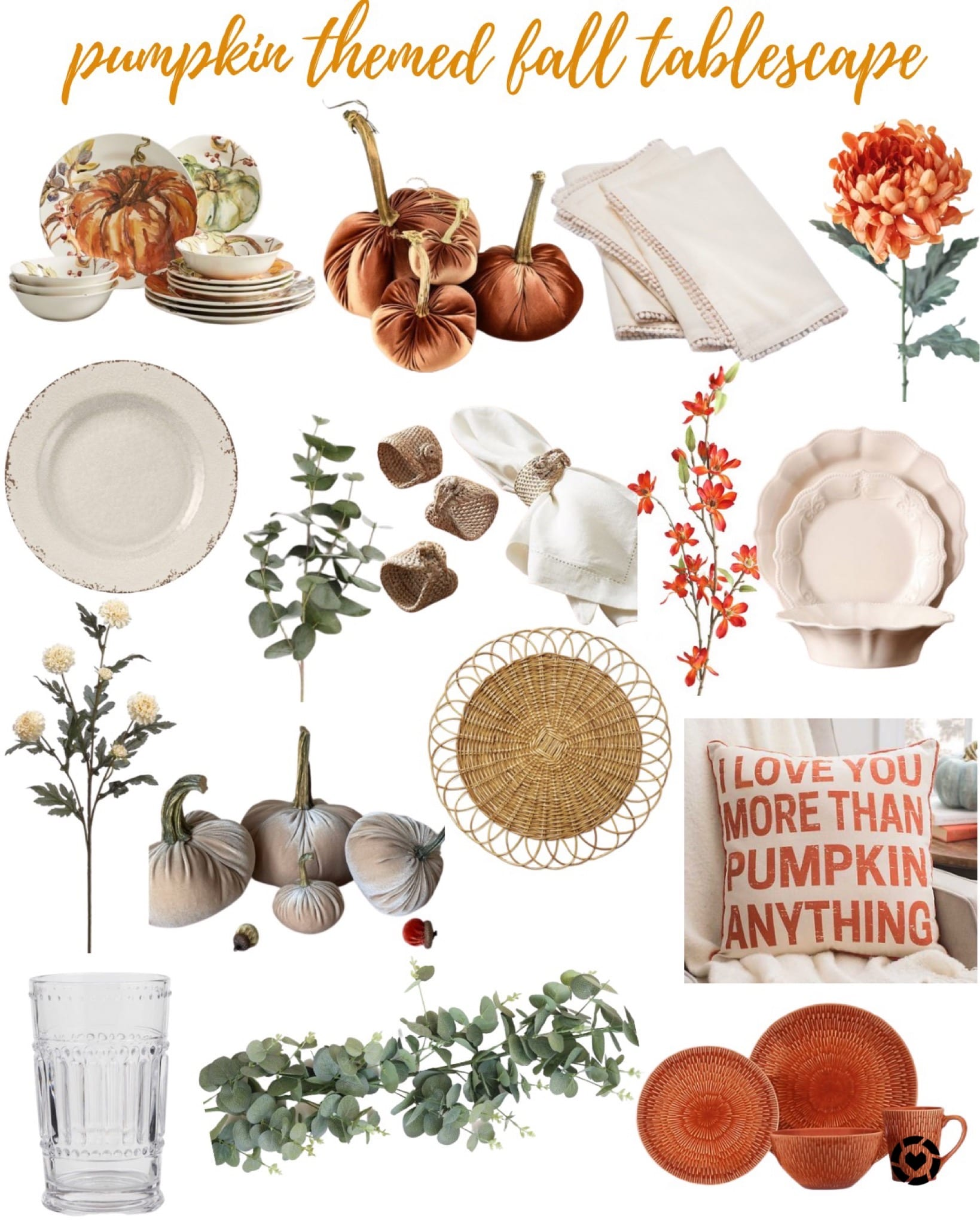orange and tan pumpkin fall tablescape decor
