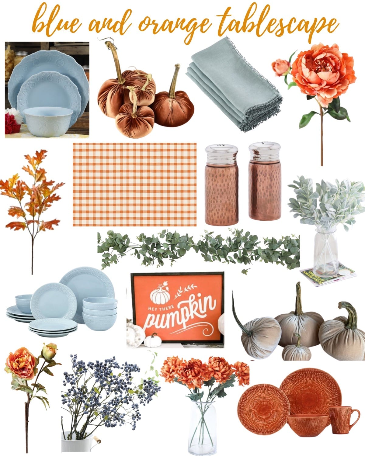 blue and orange table decor