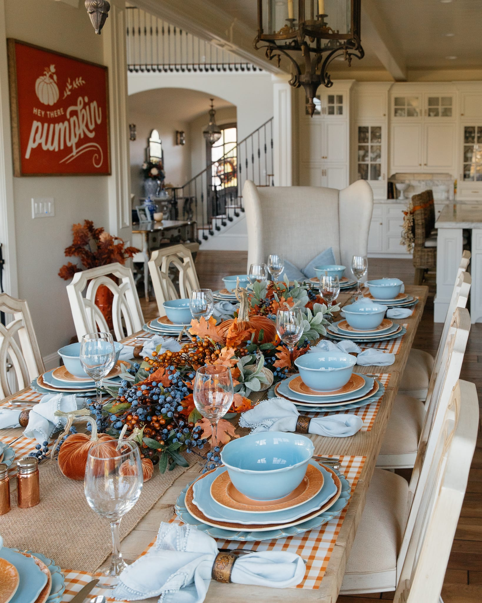 blue and orange tablescape fall decor
