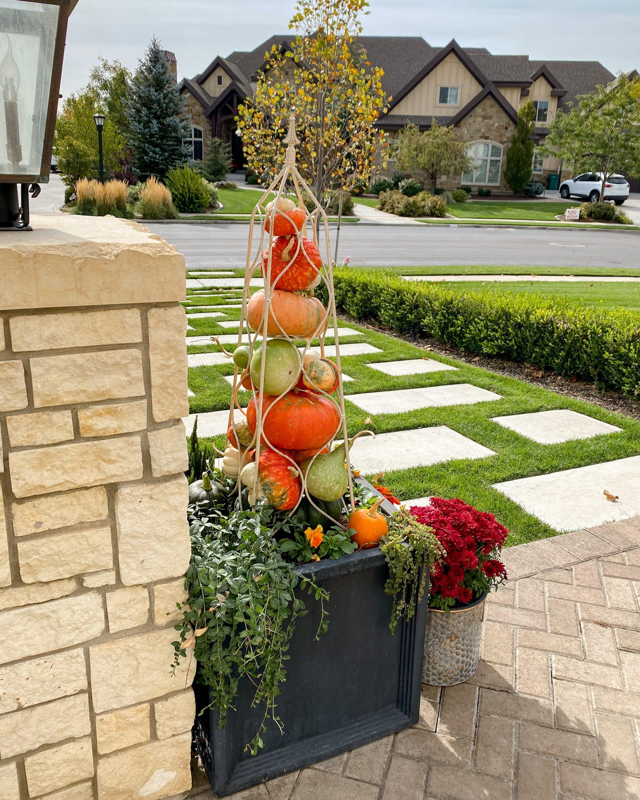 fall flowers planter pumpkin garden obelisk