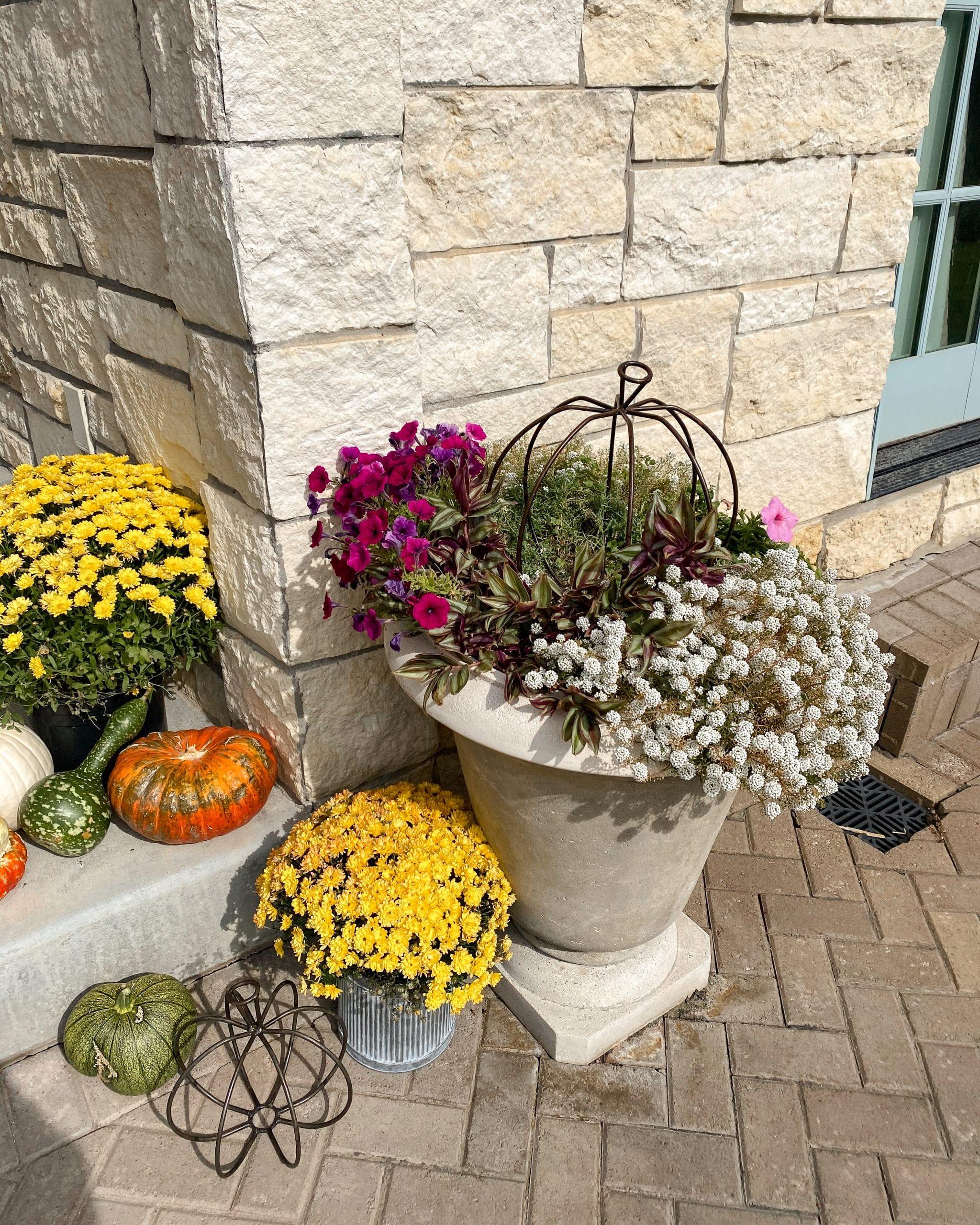 front porch garden planter pumpkin fall decor