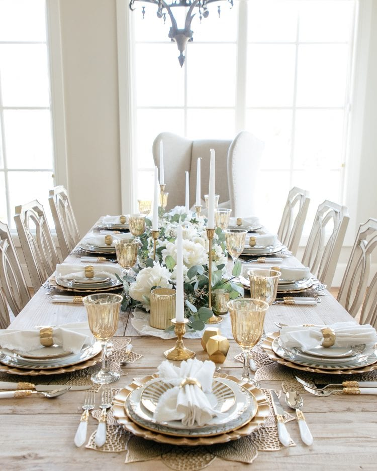 gold and white fall tablescape