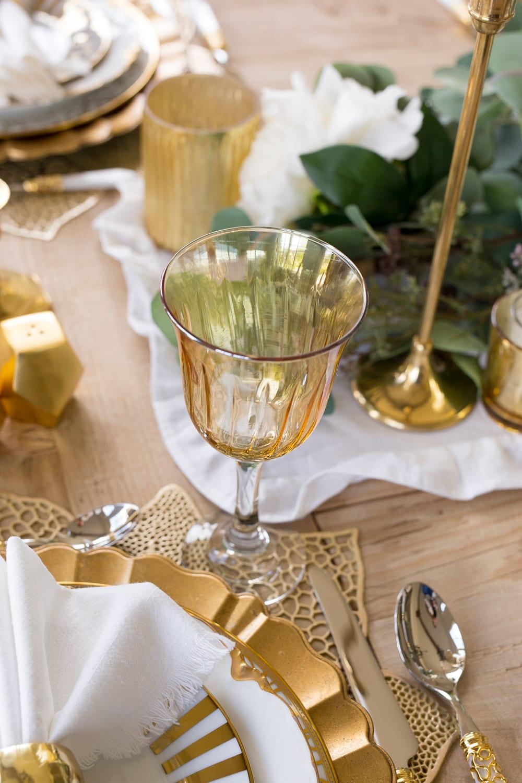 gold stemware