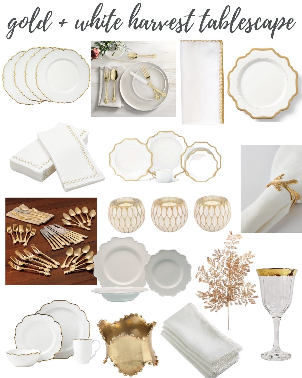 gold and white tablescape collage