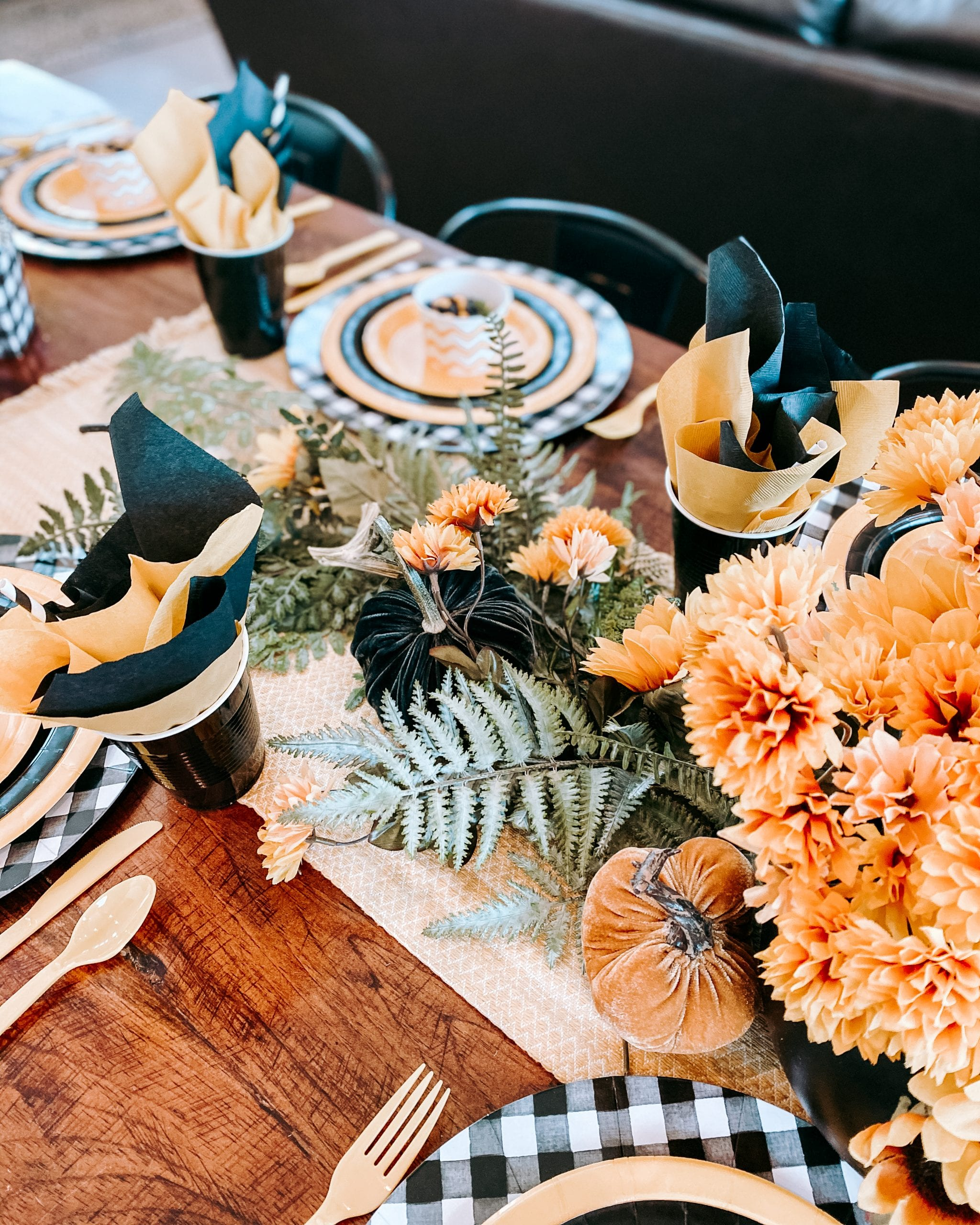black and yellow faux flower fall centerpiece