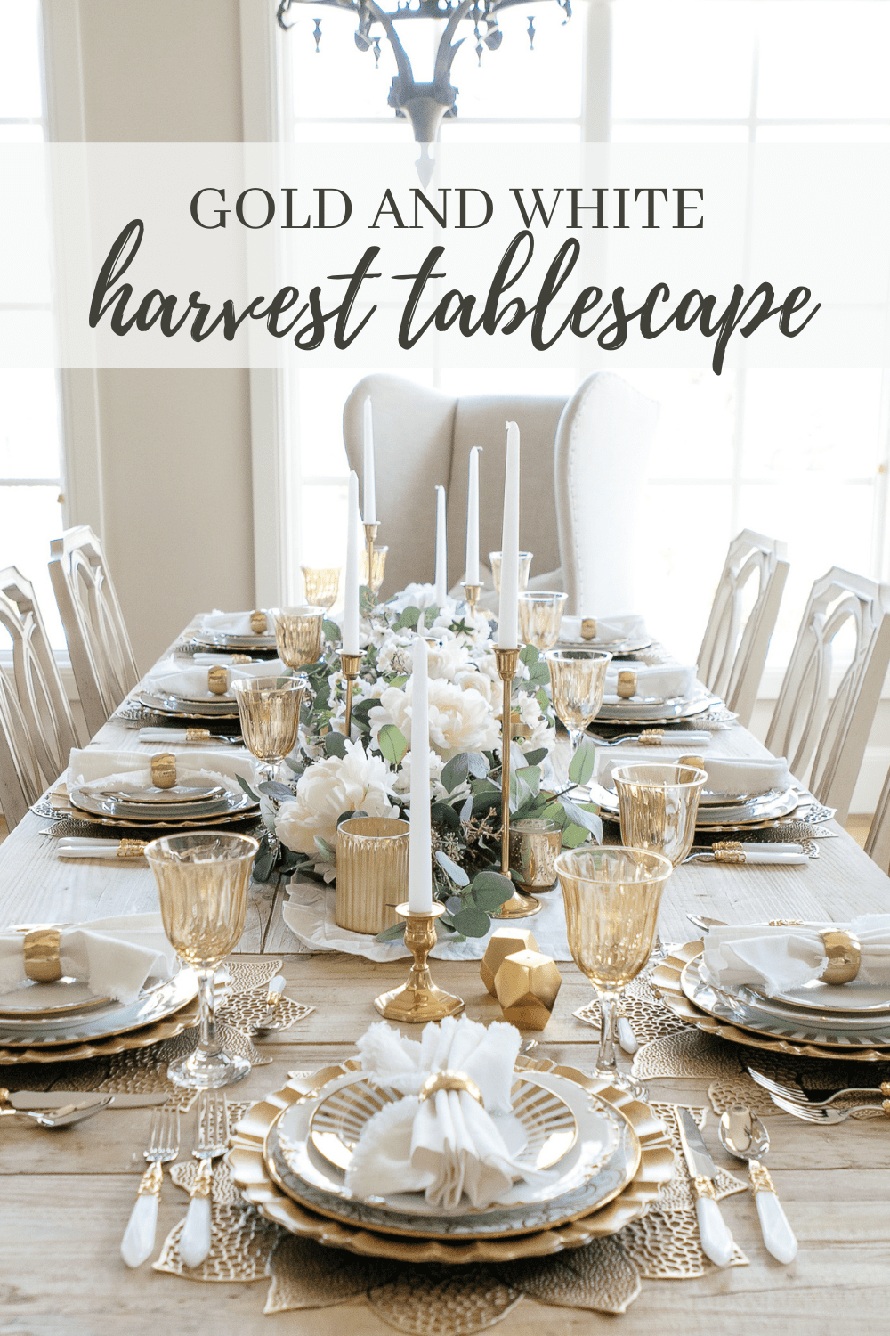 gold and white harvest tablescape