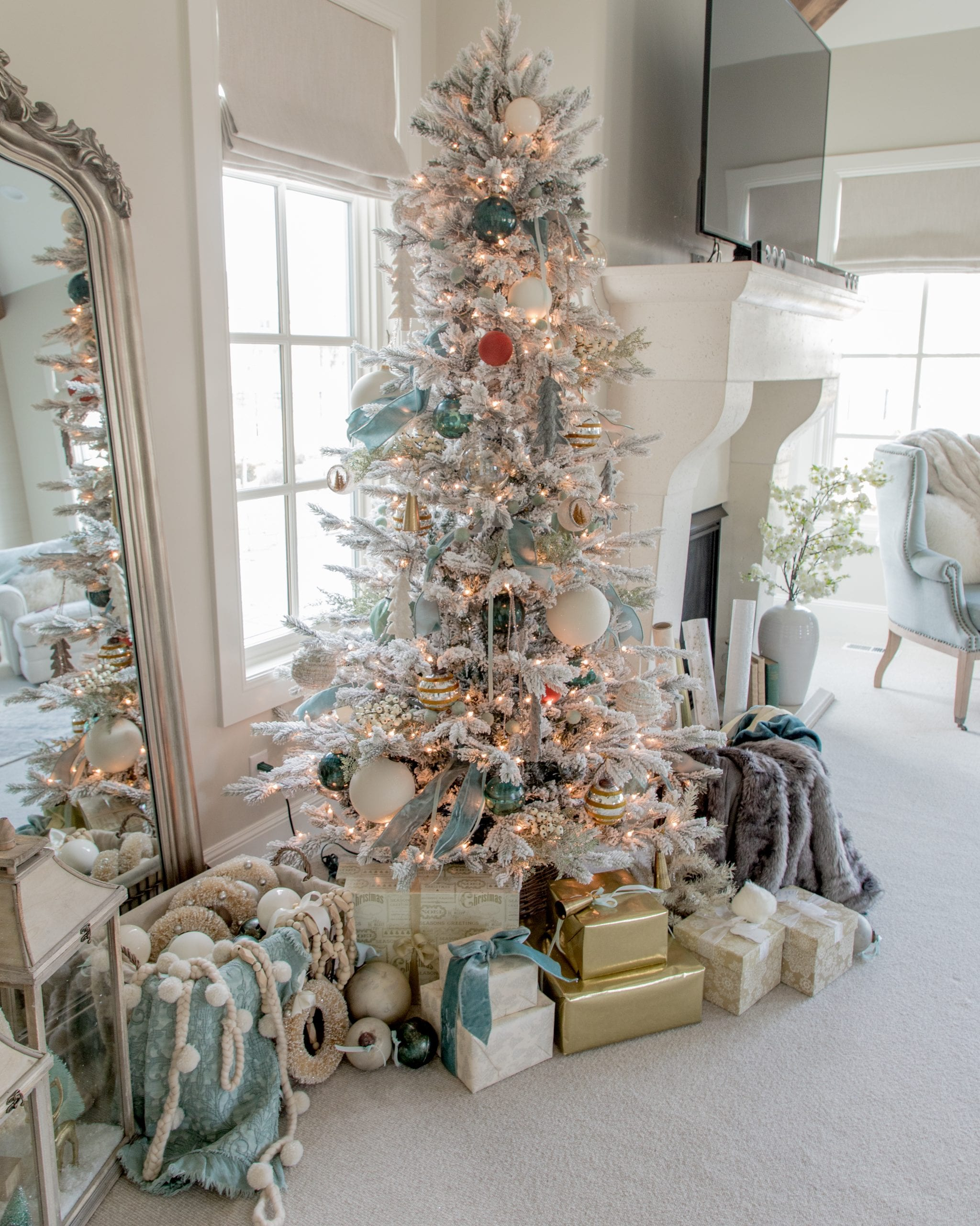 teal ivory silver gold and rust colored christmas tree decor ideas