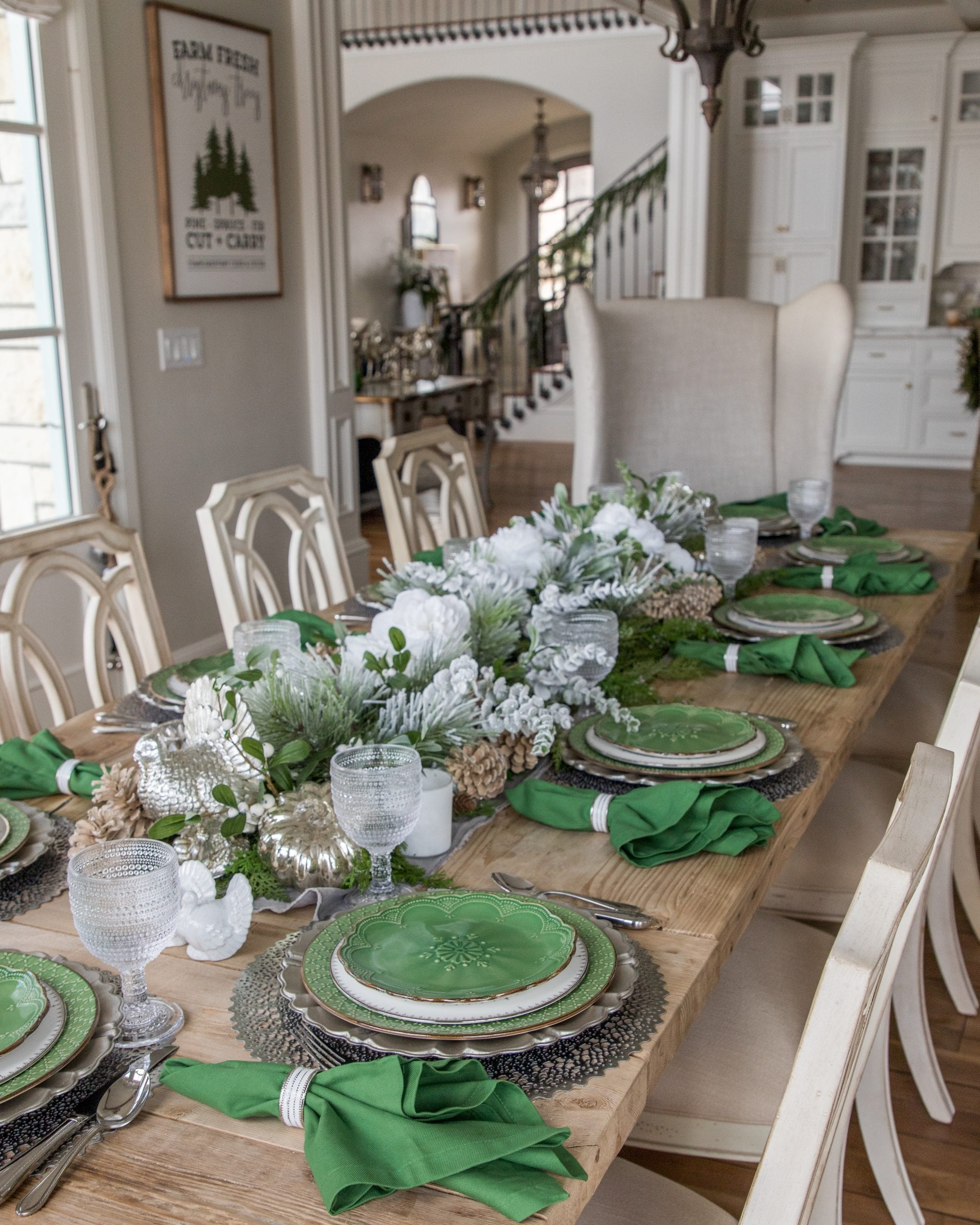 green and white christmas tablescape
