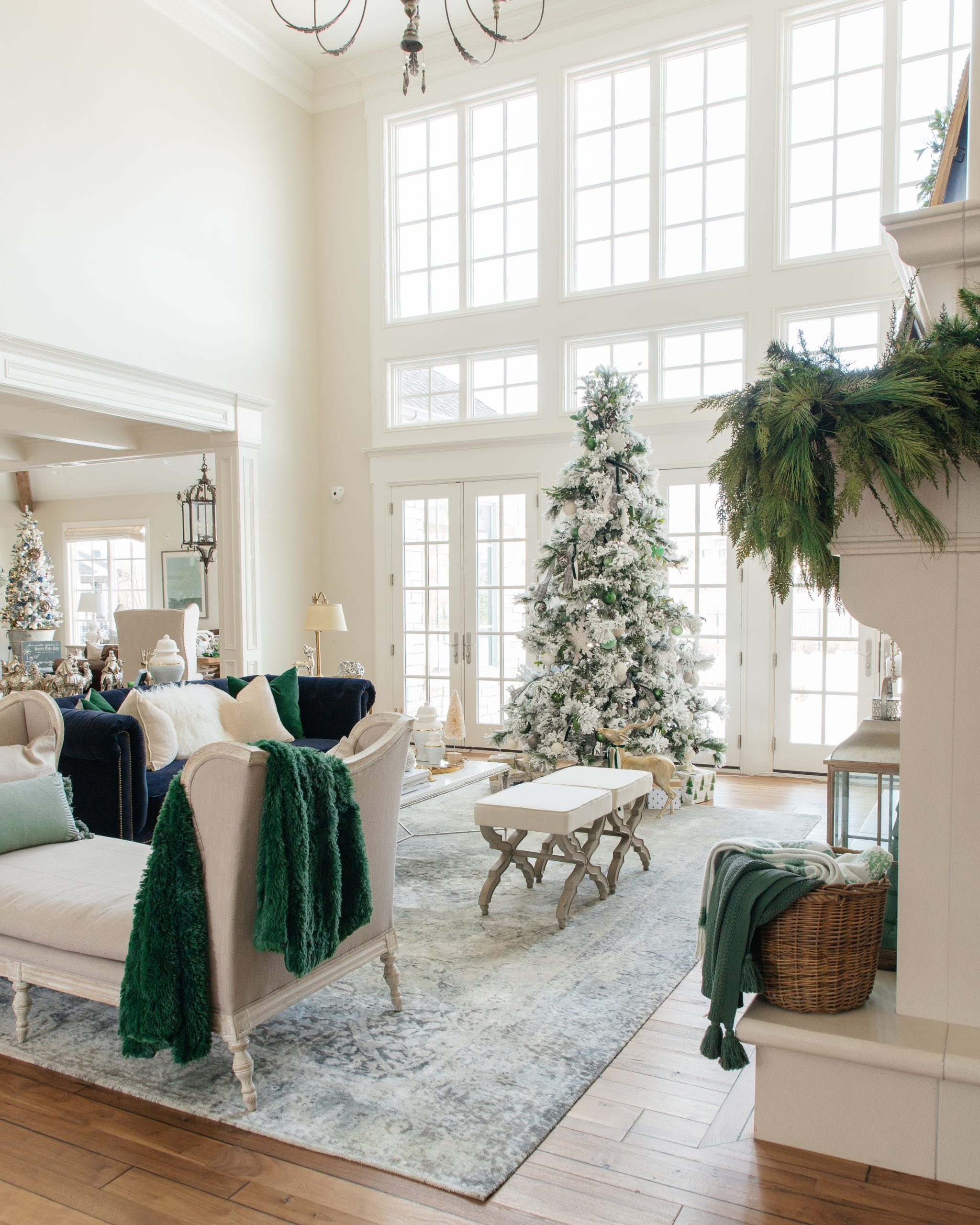 Christmas home tour green and ivory