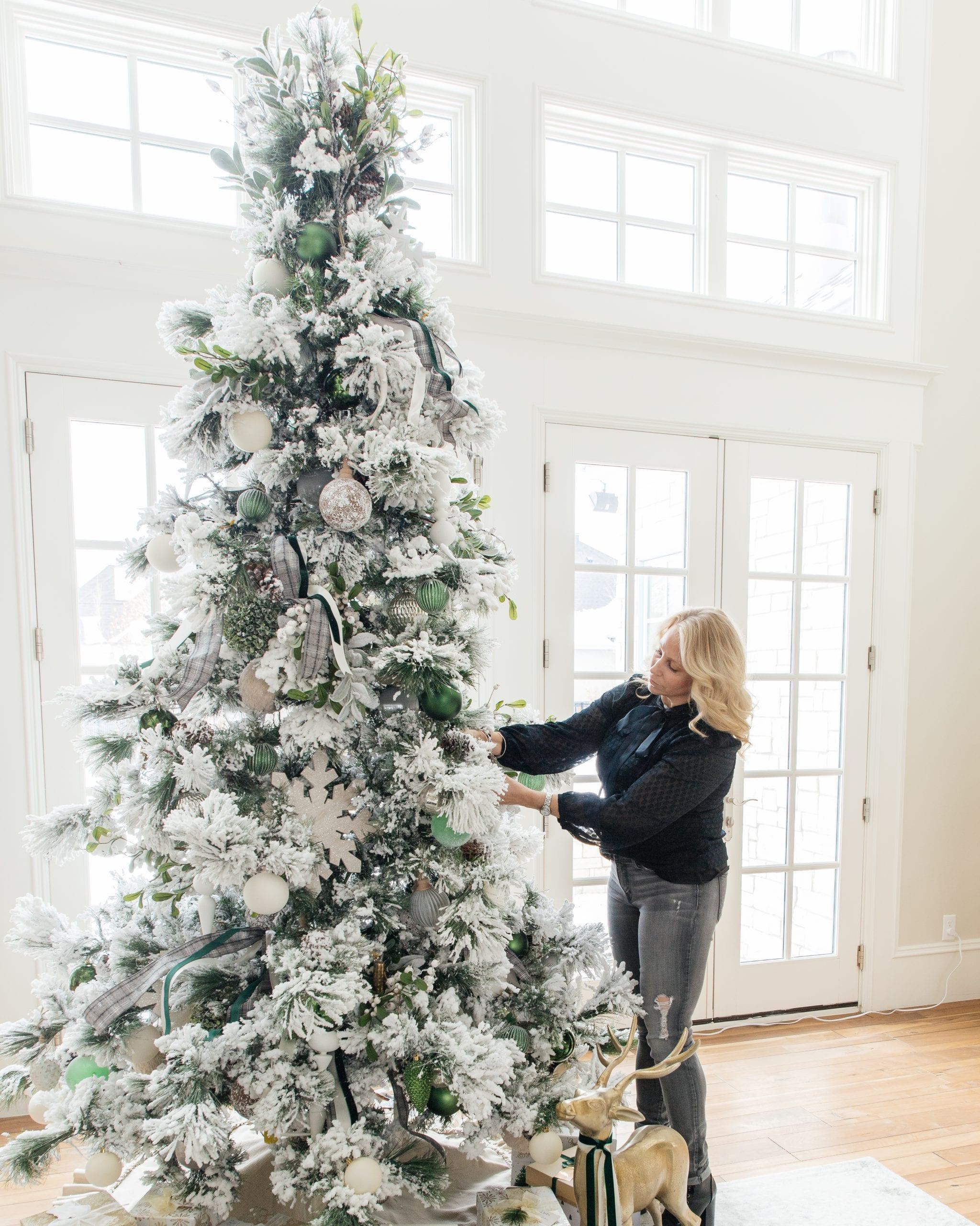 flocked christmas tree decor