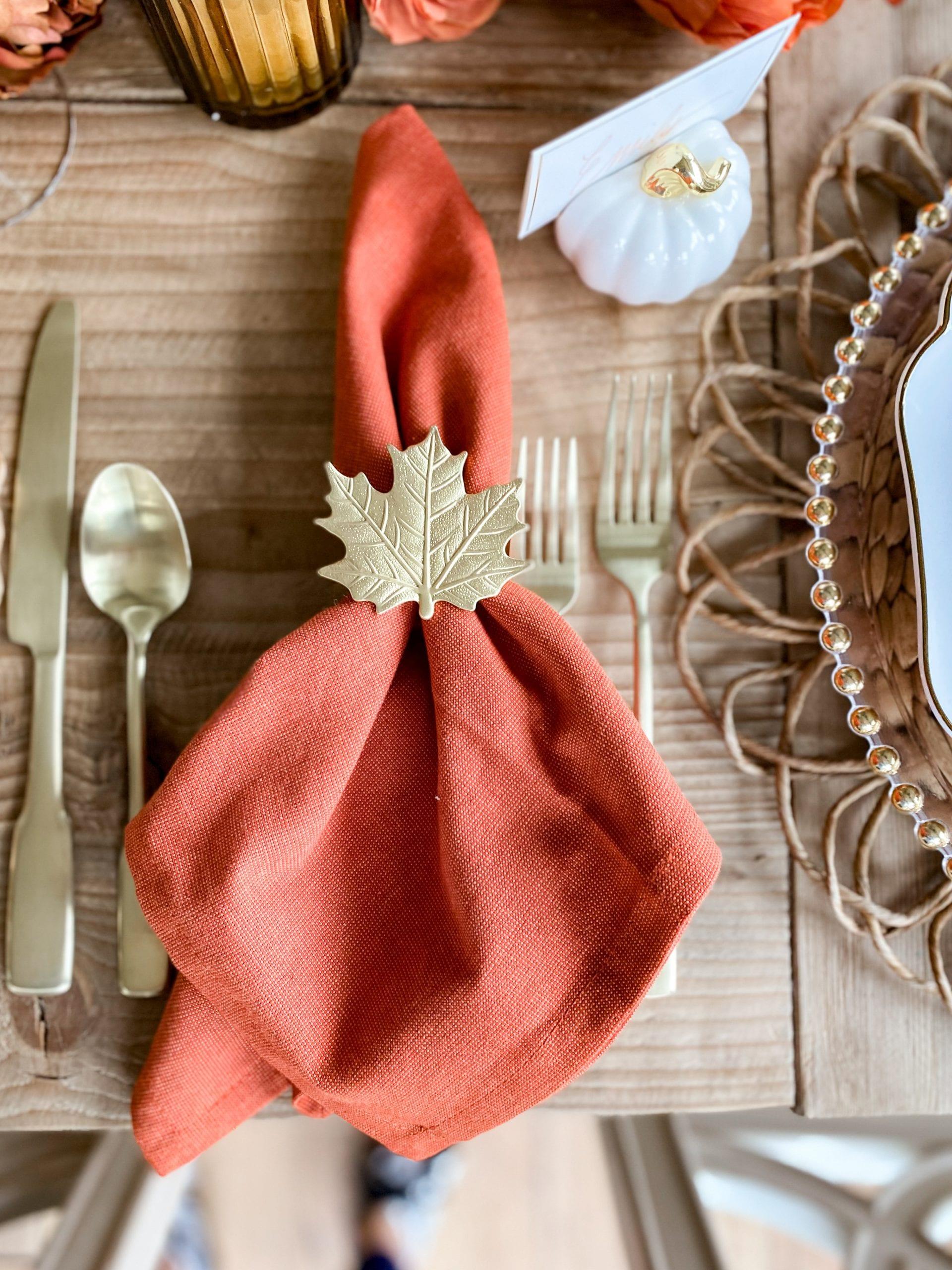 gold leaf napkin ring