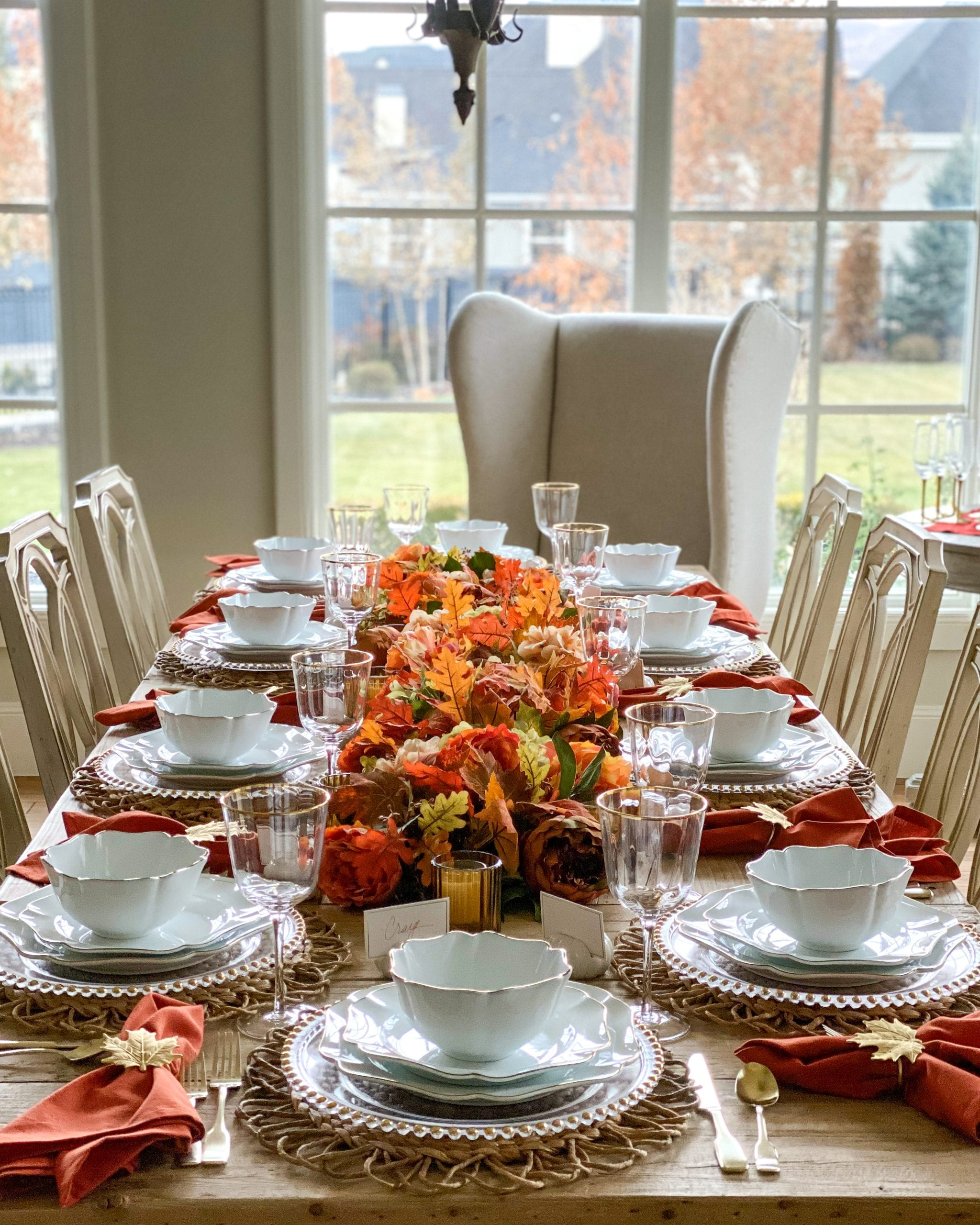 fall leaves table centerpiece garland